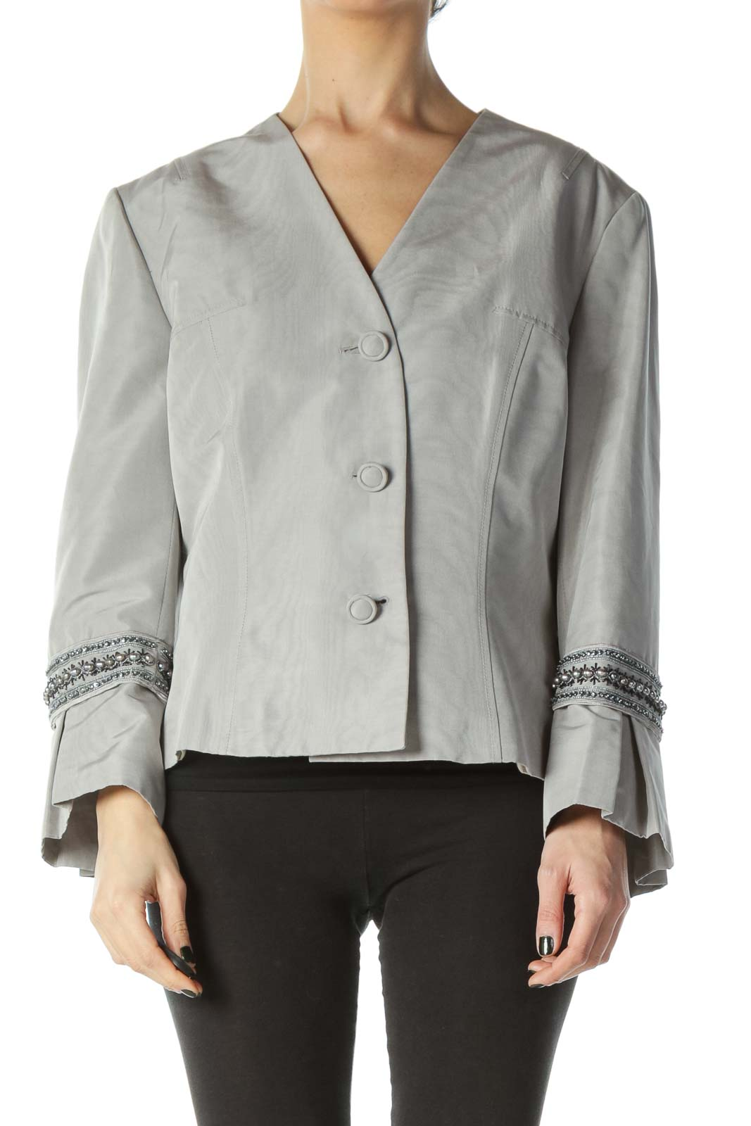 Gray Cotton Silk Sleeve Embellished Jacket