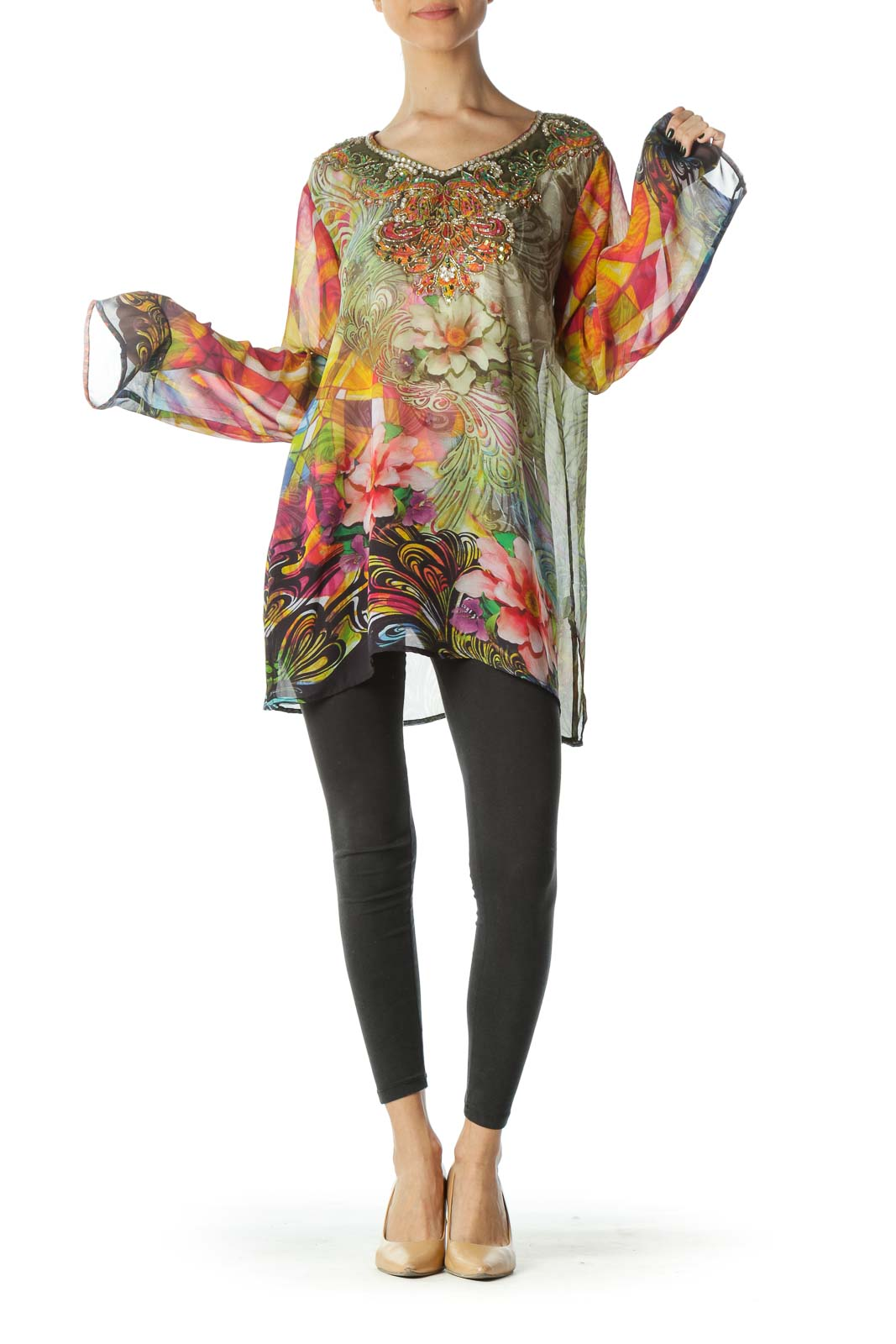 Multicolored Floral Print Embellished See-Through Tunic Top