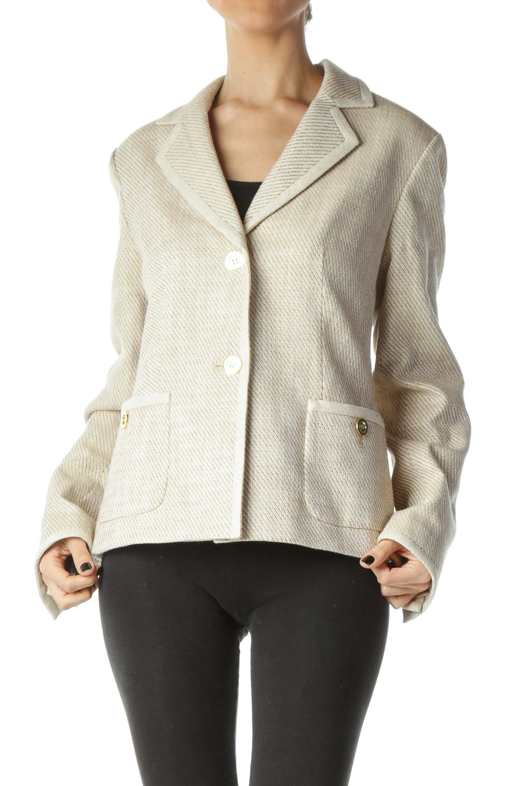 Beige White Gold Metallic Thread Buttoned Jacket