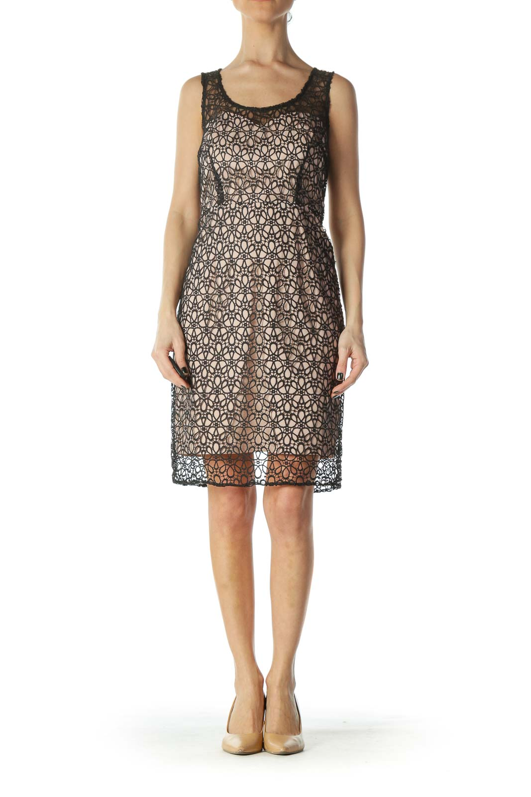 Pink and Black Eyelet Lace Dress