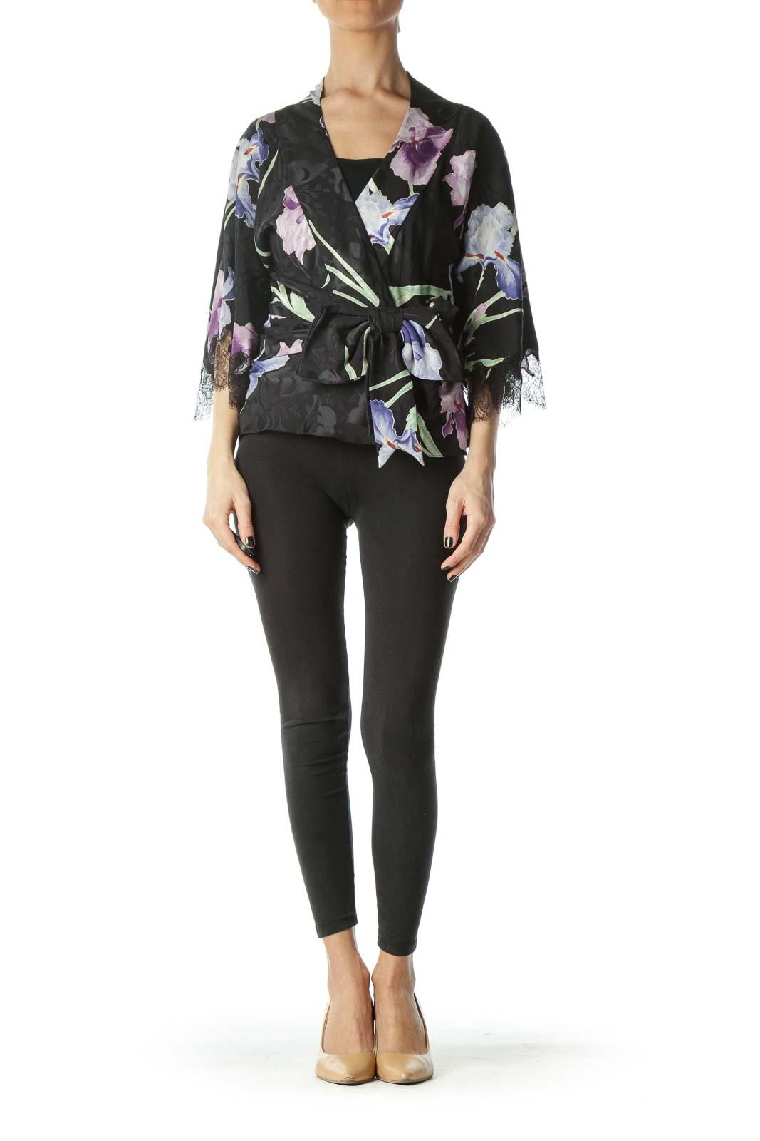 Multicolored Flower Print 100% Silk Light Jacket