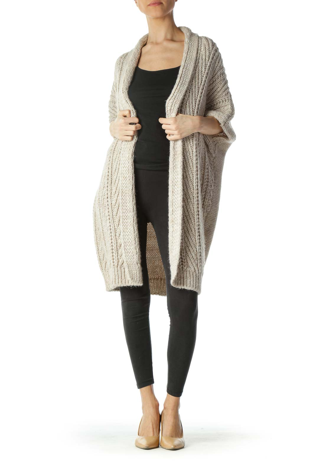 Beige Knit Wool Alpaca Bat-Sleeves Cardigan