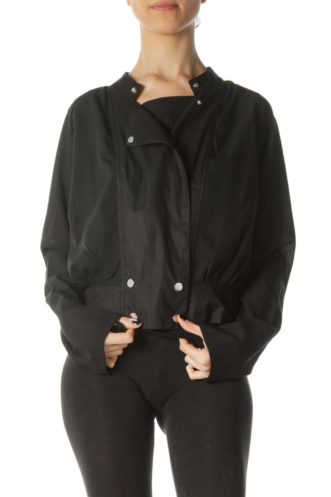 Black Snap Buttons Light Fitted Jacket