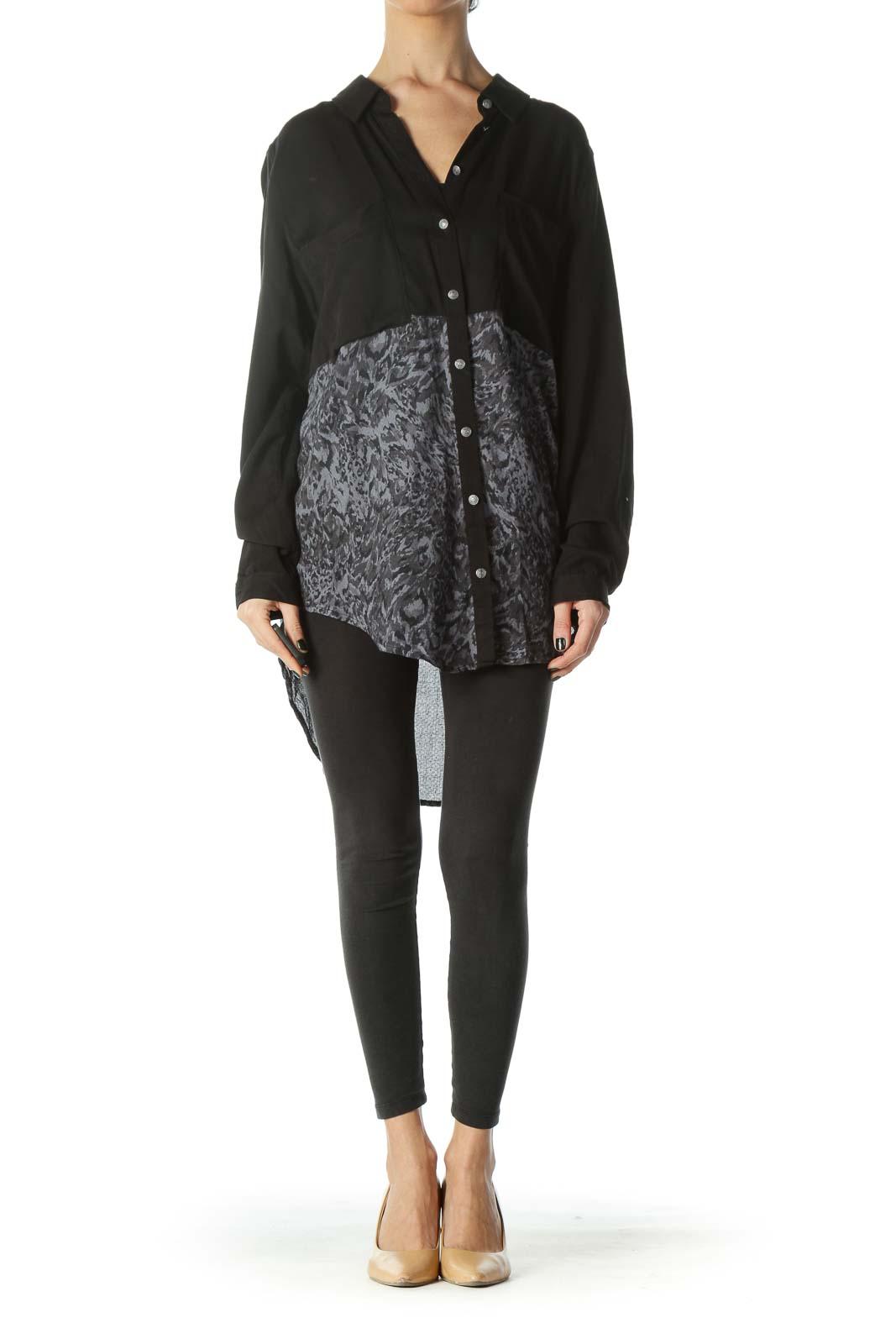 Black Gray Color Block Mixed Media Buttoned Shirt