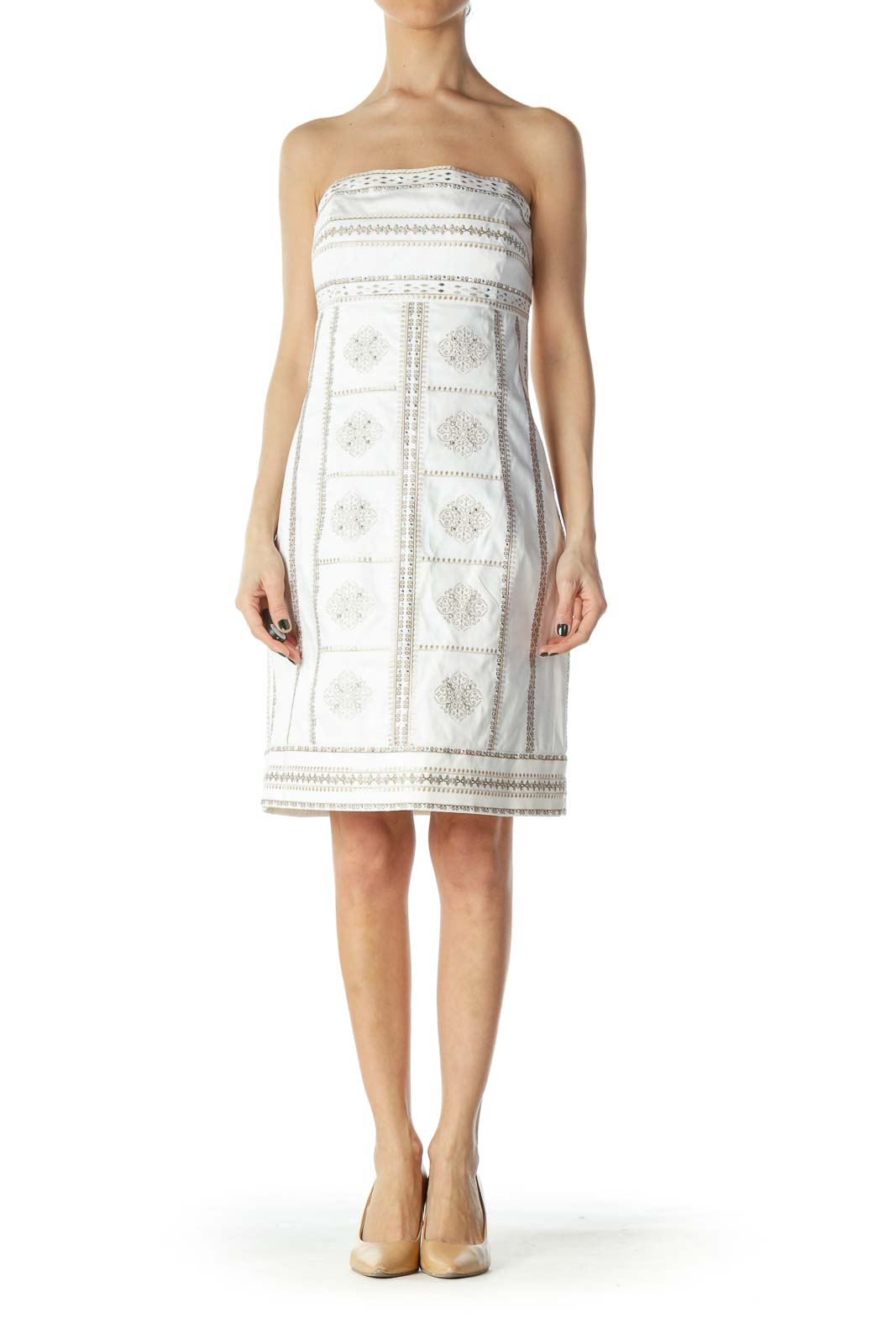 White Embroidered Strapless Cocktail Dress