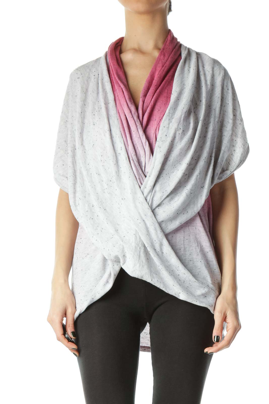 Pink Faded Design Textured Sleeveless Long Sweater