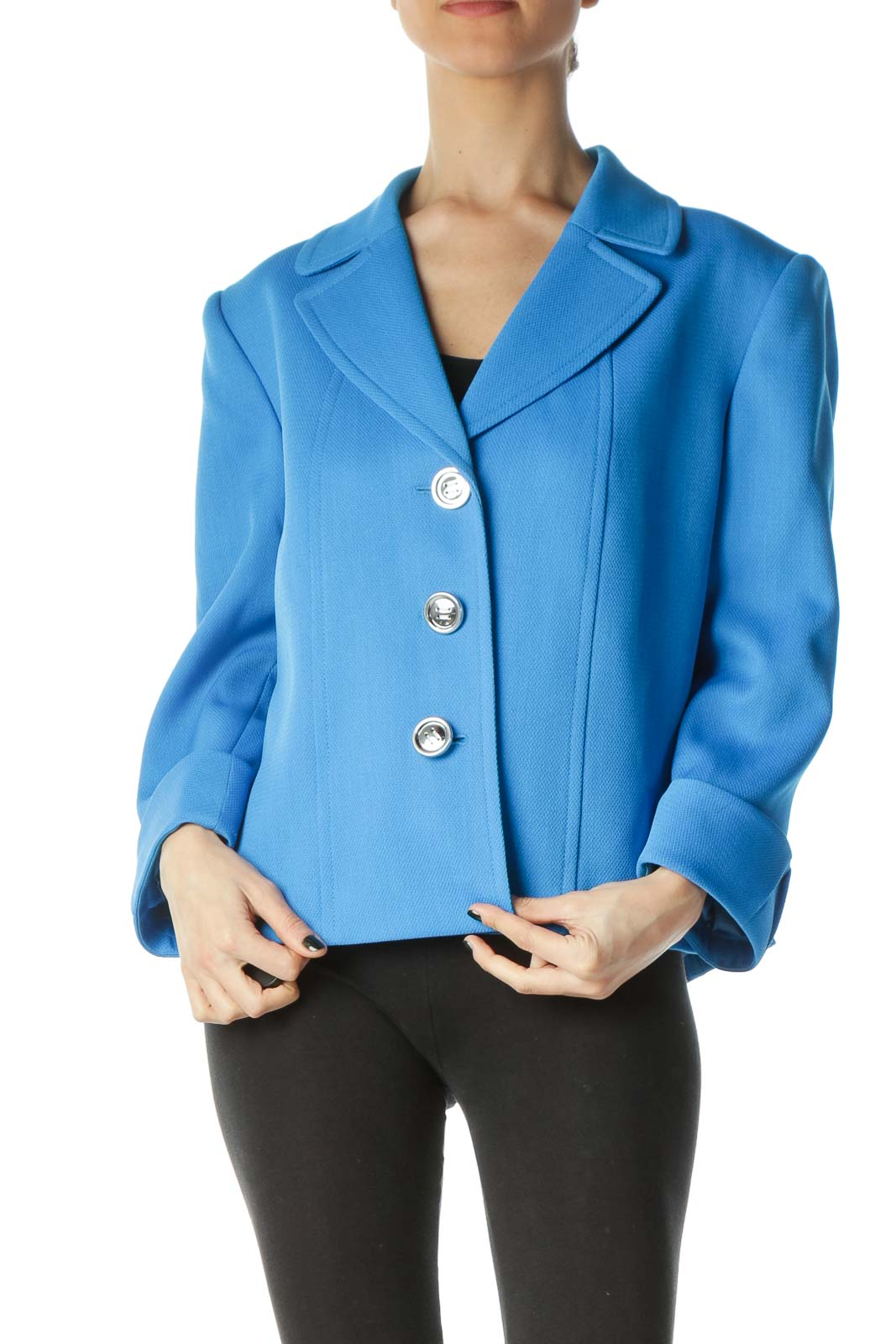 Blue Cuffed Sleeves Textured Buttoned Blazer