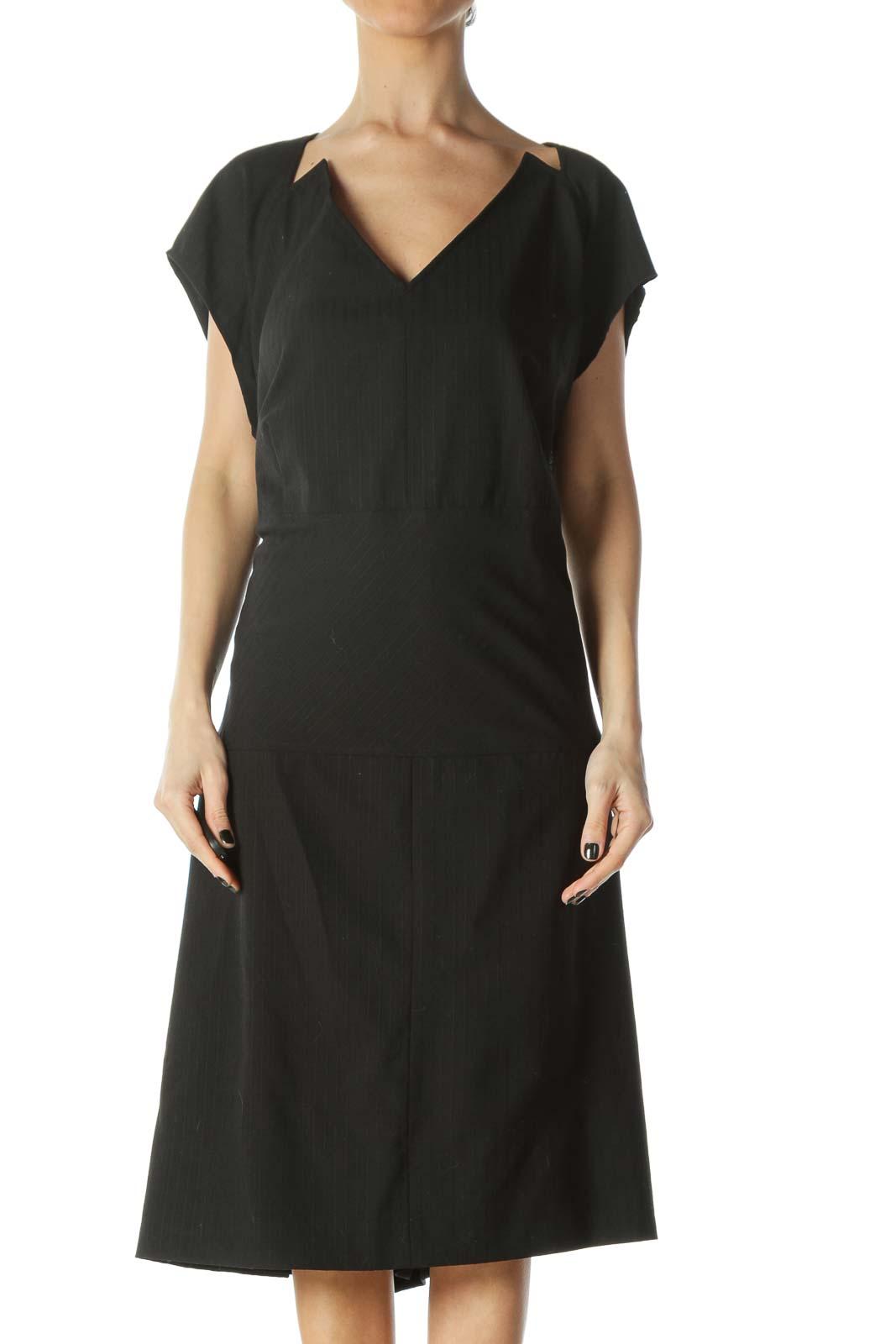 Black Cap-Sleeve Work Dress