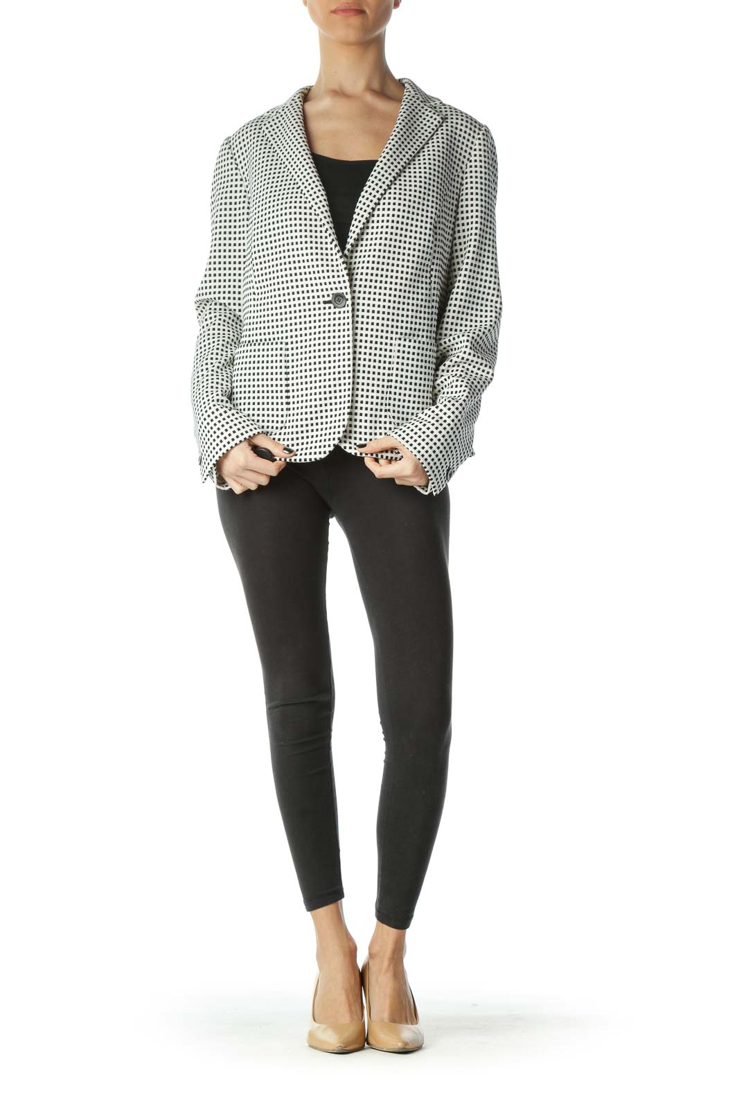 Black White Checkered Textured Pocketed Blazer