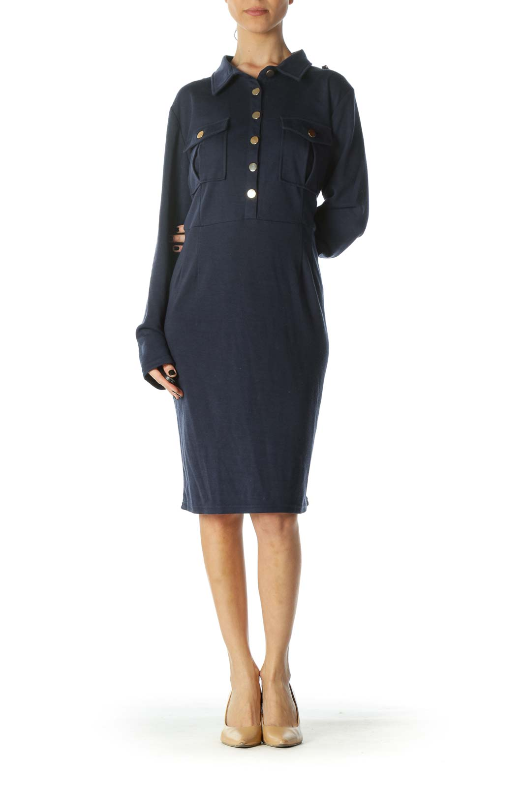 Navy Gold-Buttoned Casual Day Dress