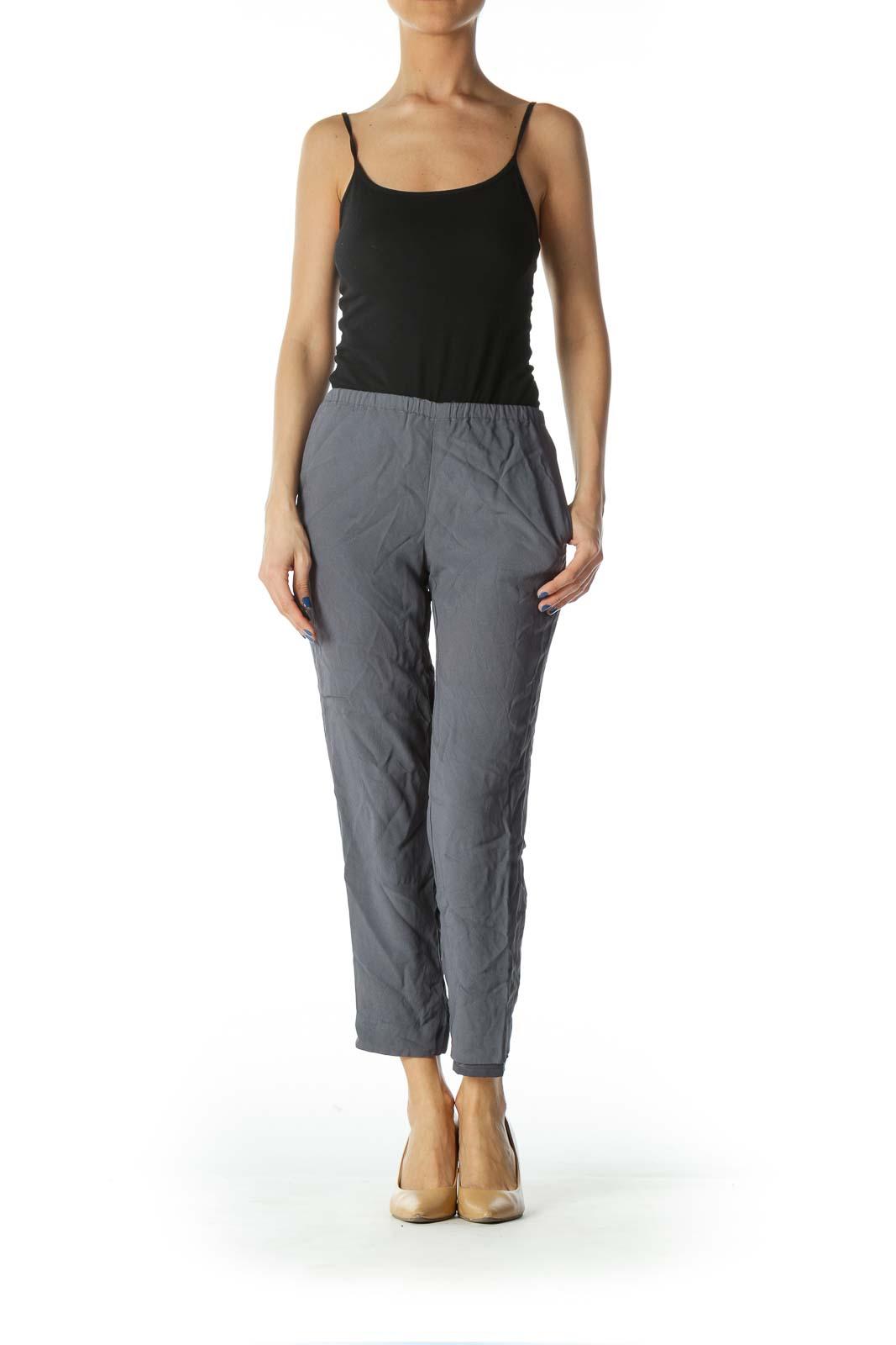 Grey Pocketed Slim-Fit Pants