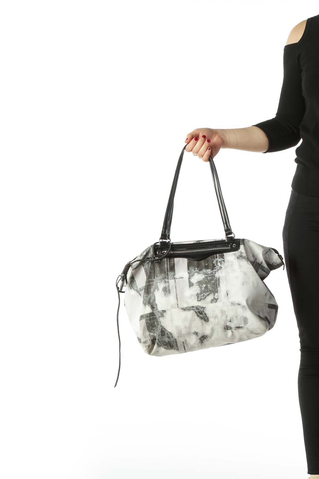 Beige Black and Grey Patterned Tote