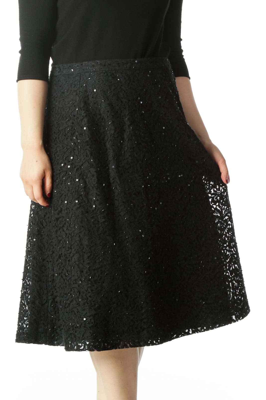 Black Lace Sequined Beaded A-LIne Skirt