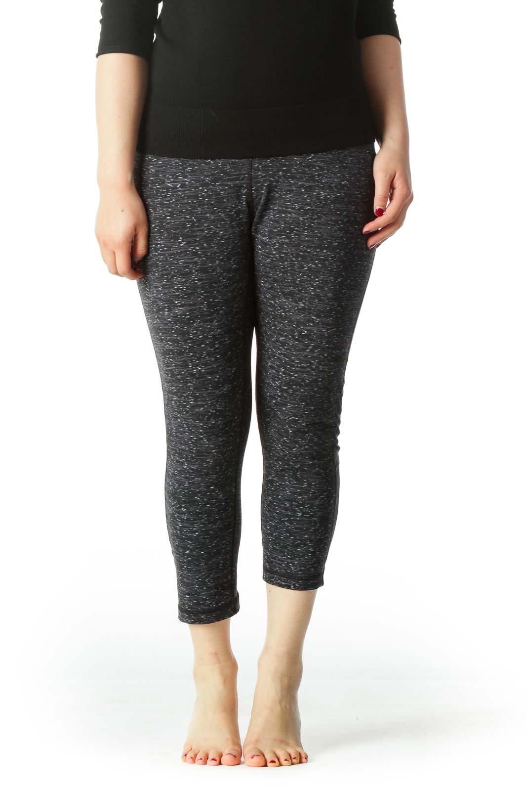 Black and Gray Stretch Capri Yoga Pants