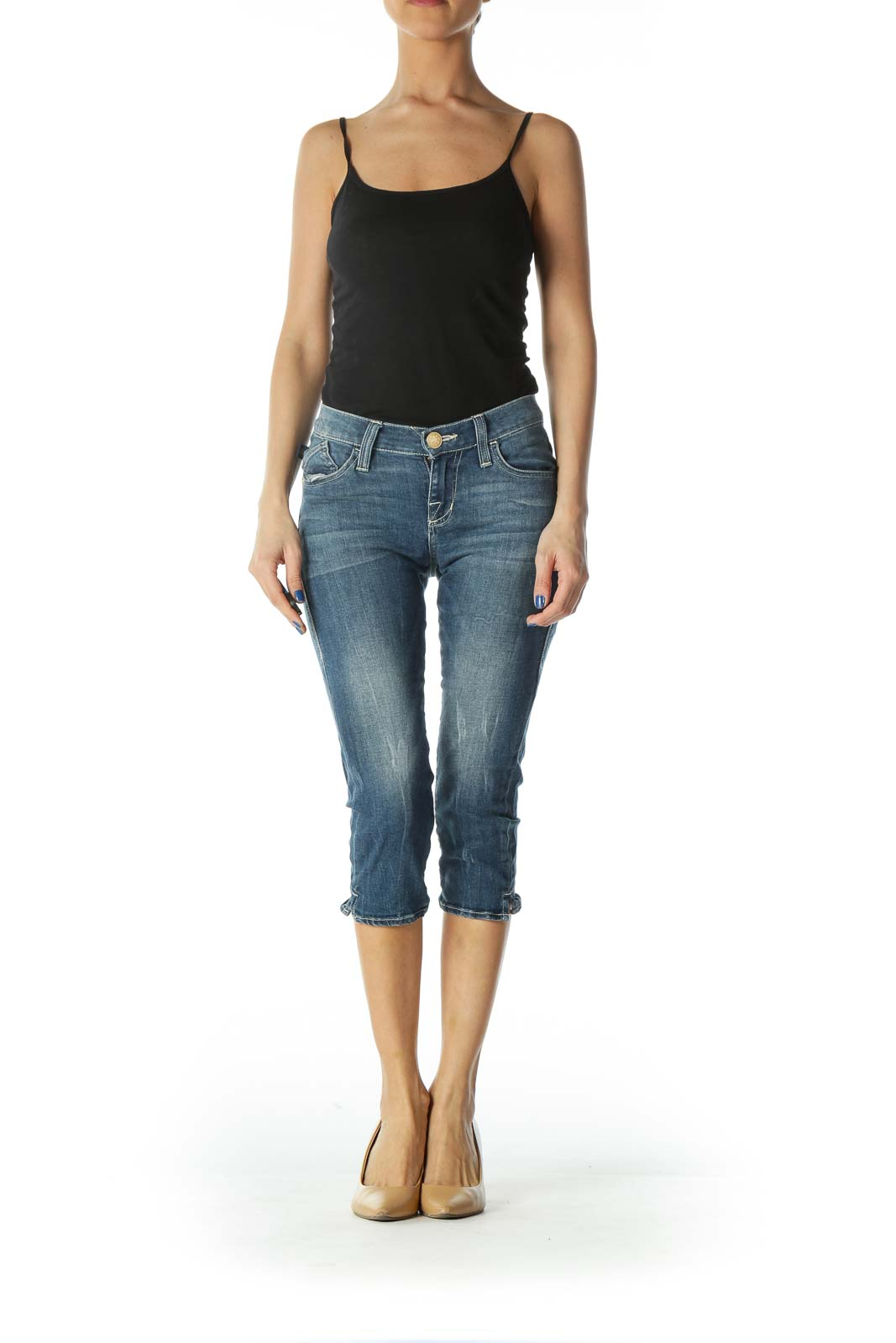 Embellished Cropped Skinny Jeans
