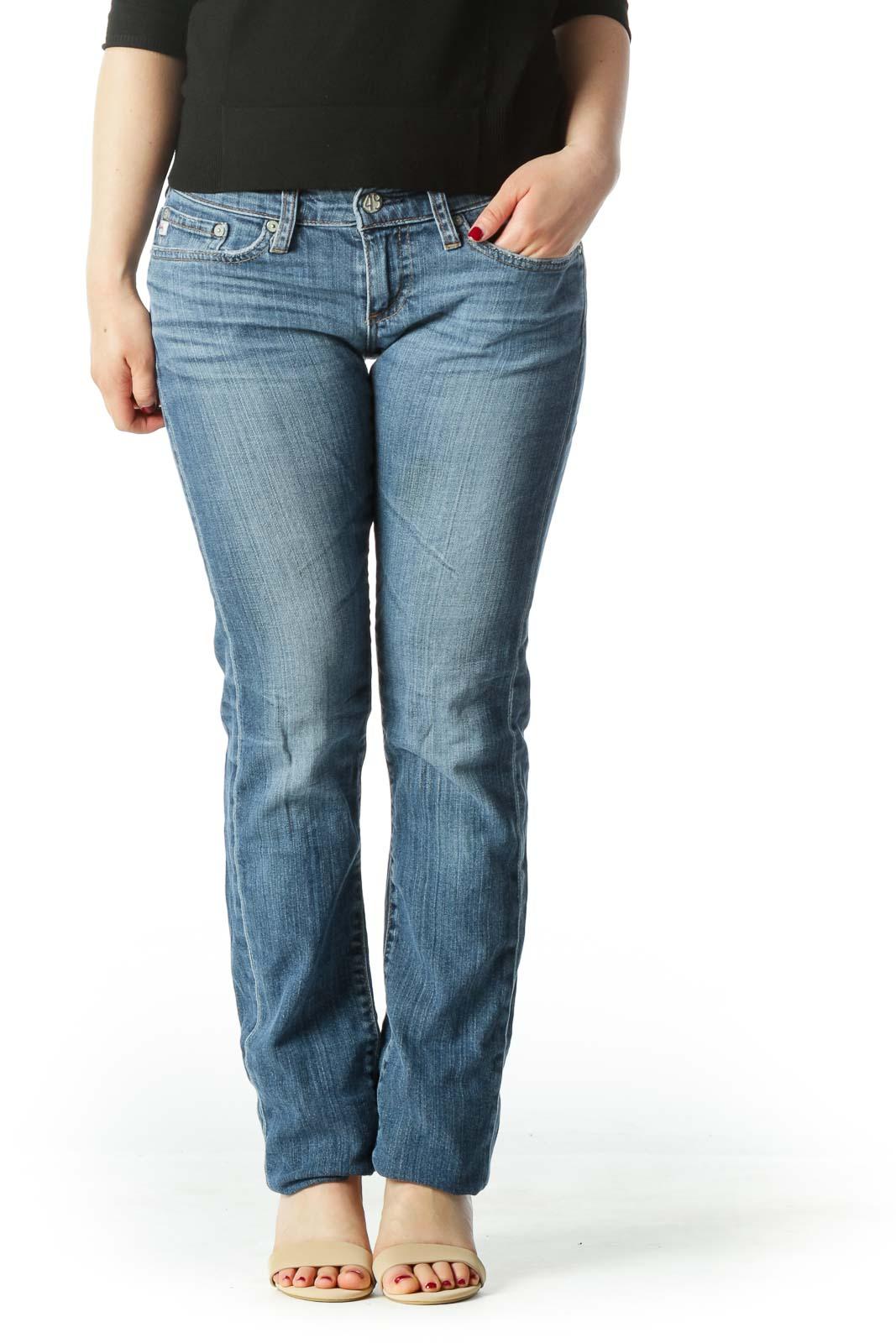 Blue Straight Leg Denim Jeans