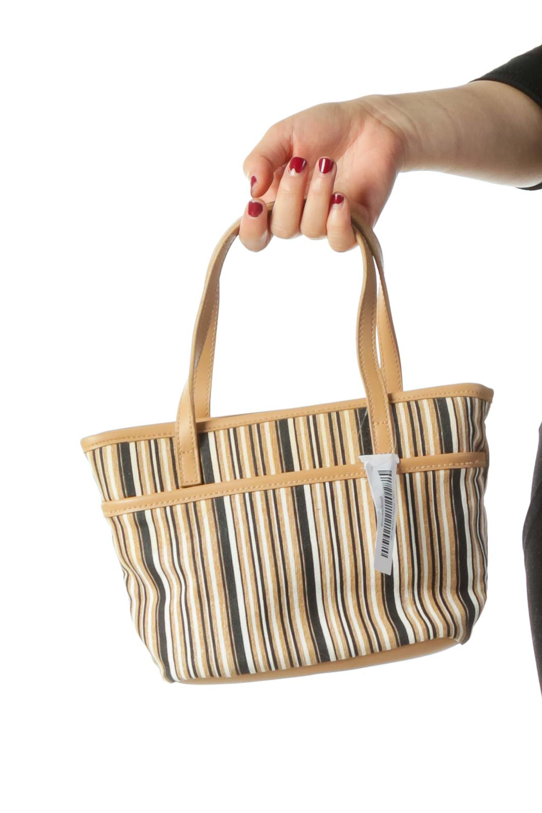 Beige Navy and Cream Striped Tote Bag