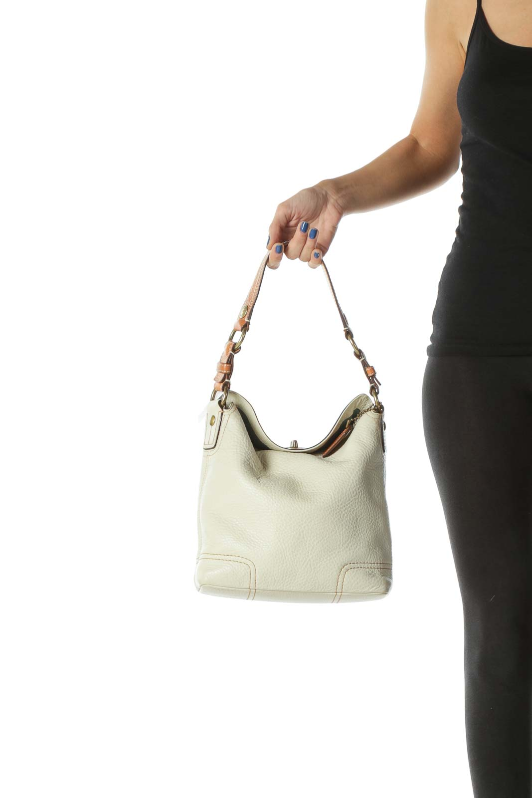 Beige High-End Cowhide Leather Shoulder Bag