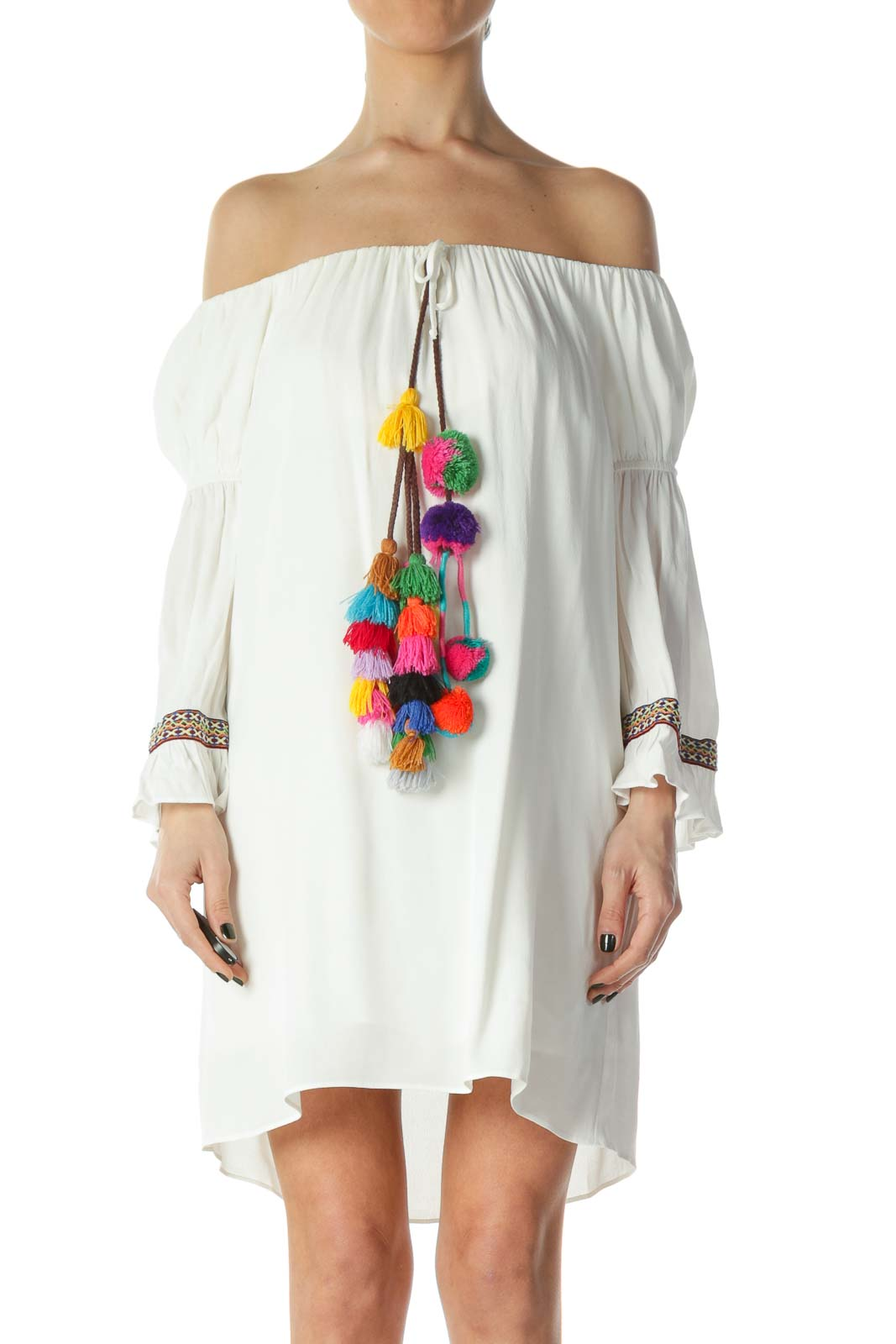 White Off-Shoulder Boho Pom-Pom Detail Dress