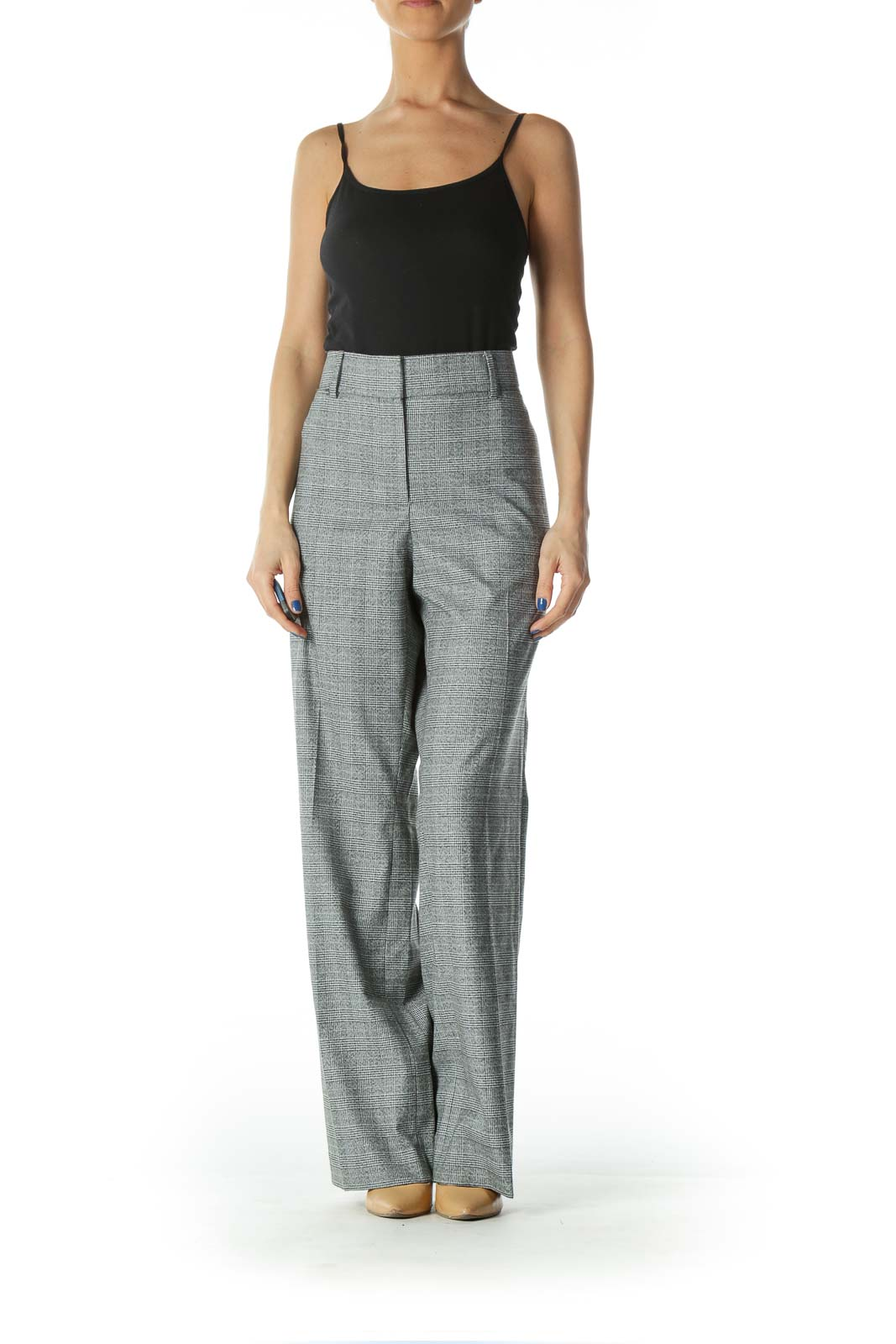 Grey Beige and Black Glen Check Suit Pant