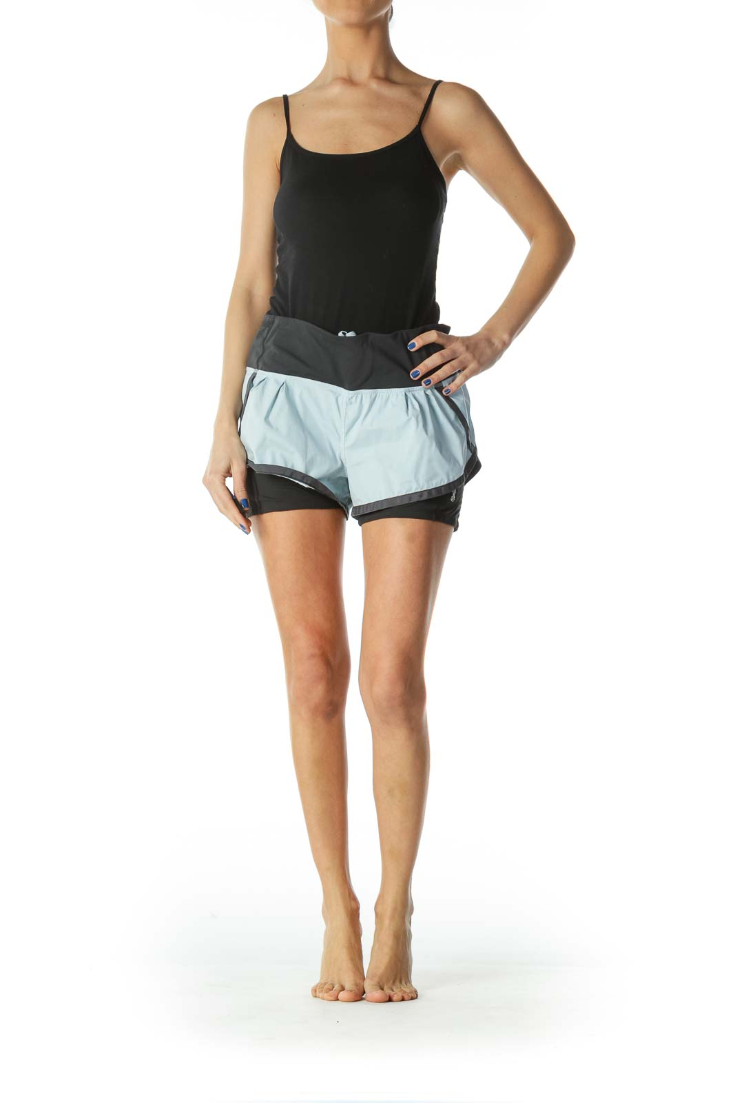 Blue and Black Stretch Sports Shorts