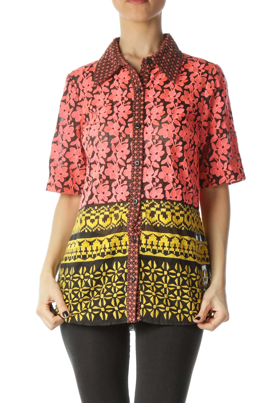 Multicolor Flower Embroidered Blouse
