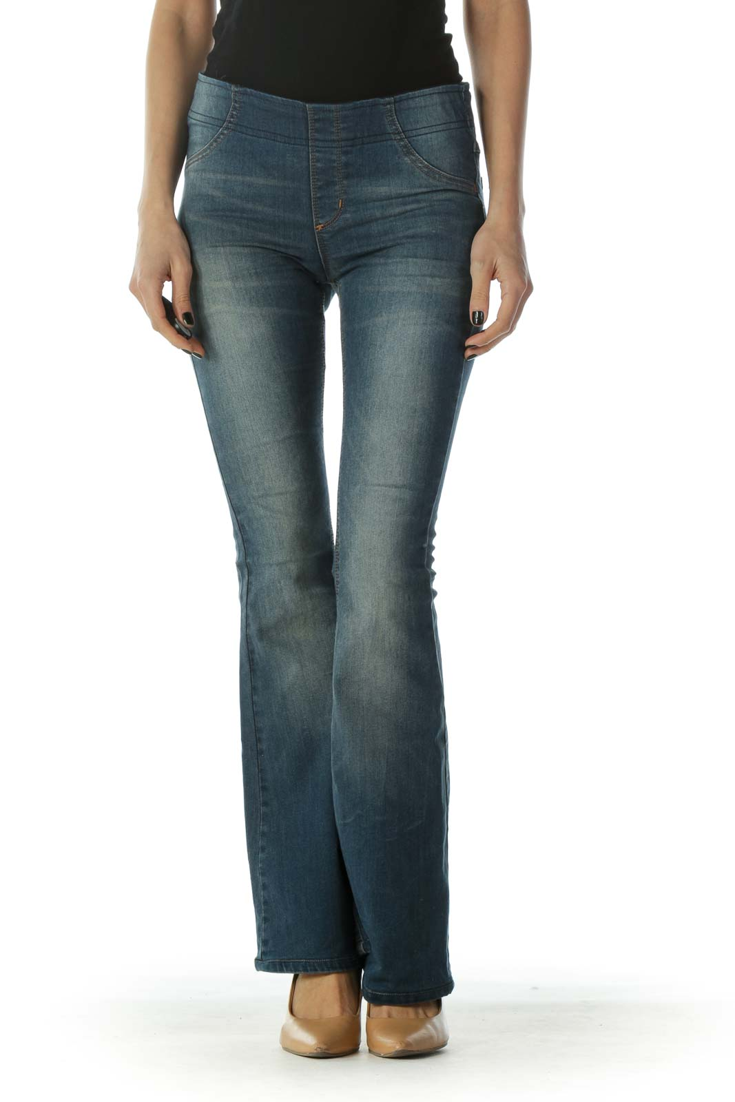 Blue Medium-Wash Elastic Stretch Flared Denim Jeans