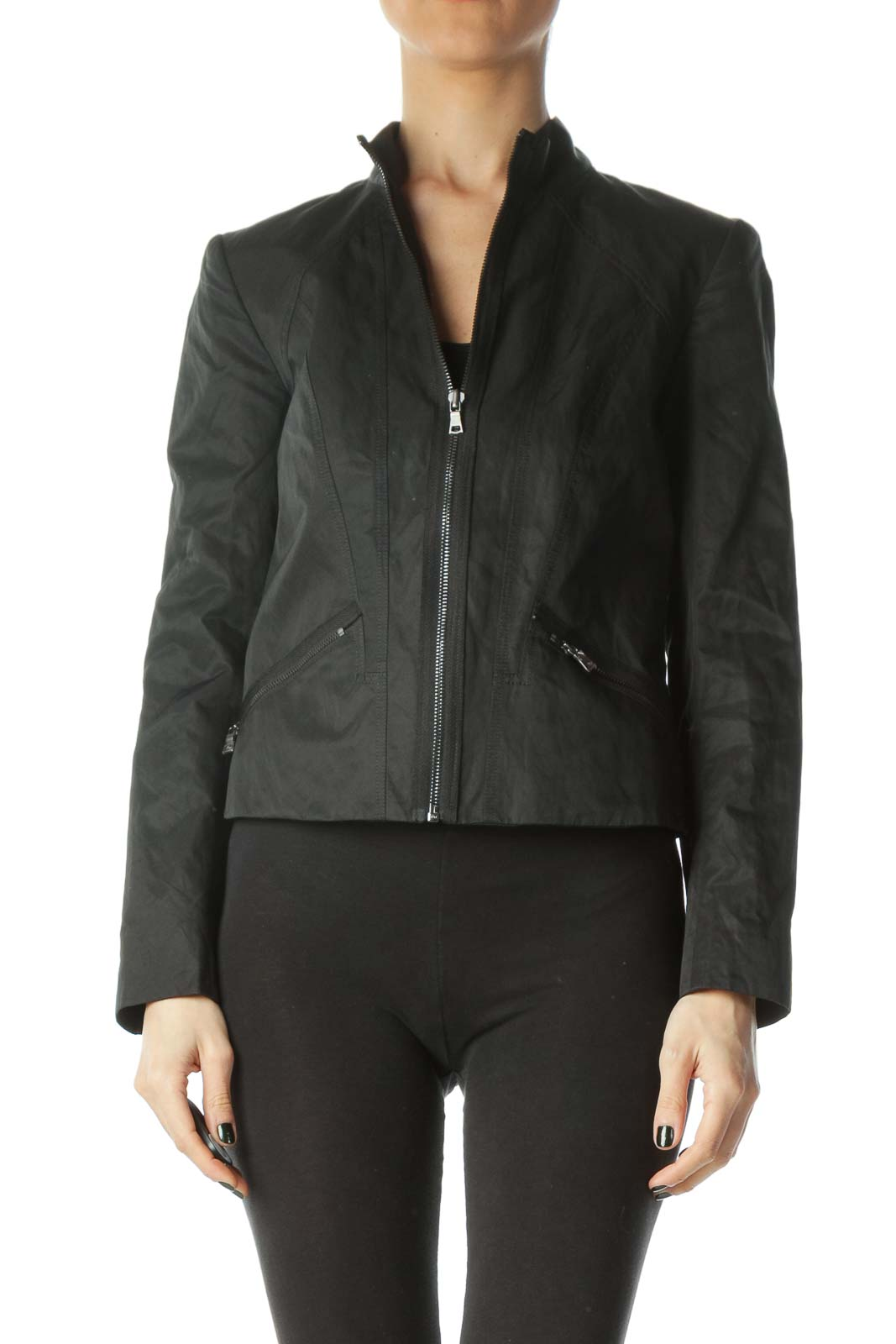 Black Zippered Pocketed Slight Shine Jacket