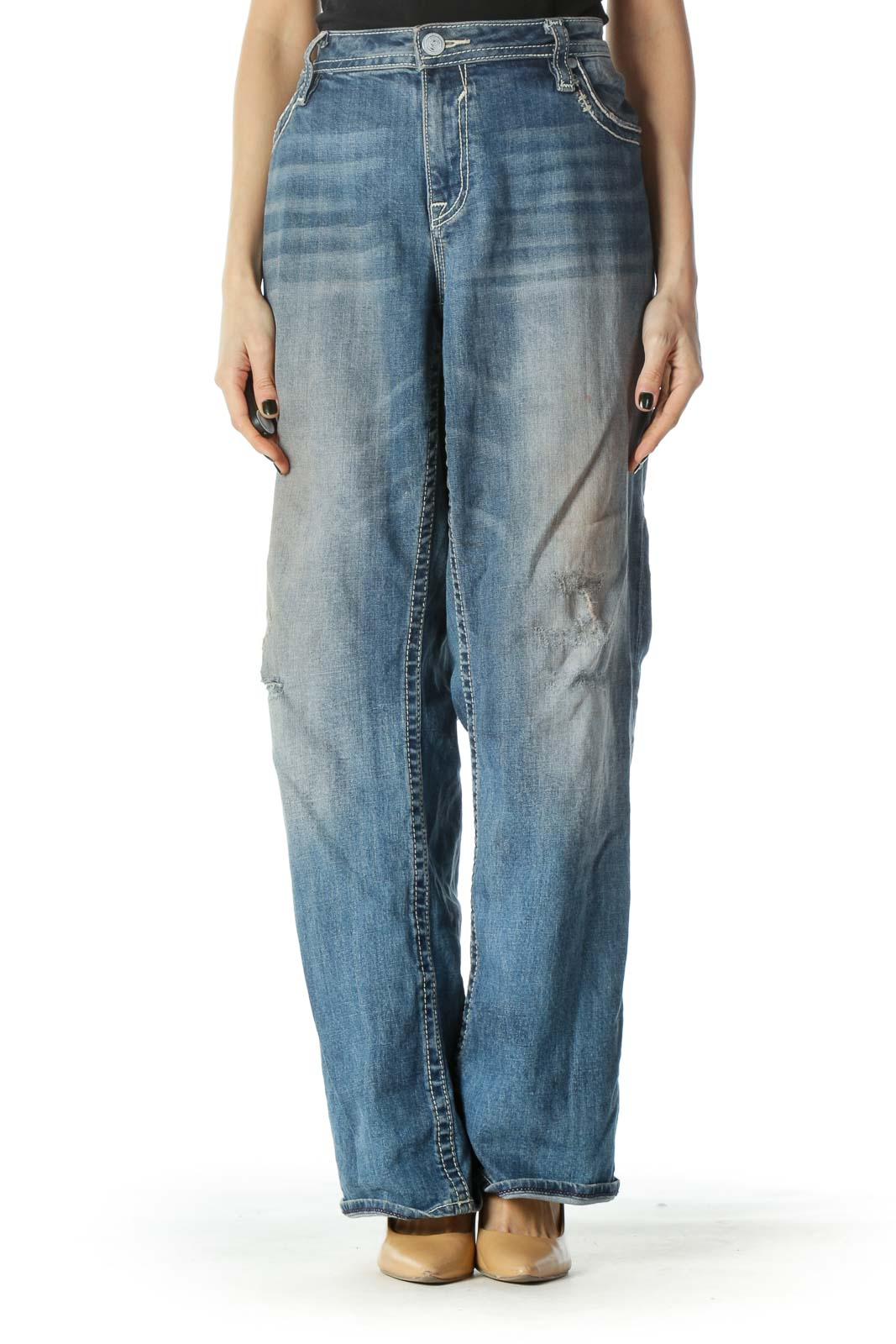 Blue Sequenced  Distressed Jean