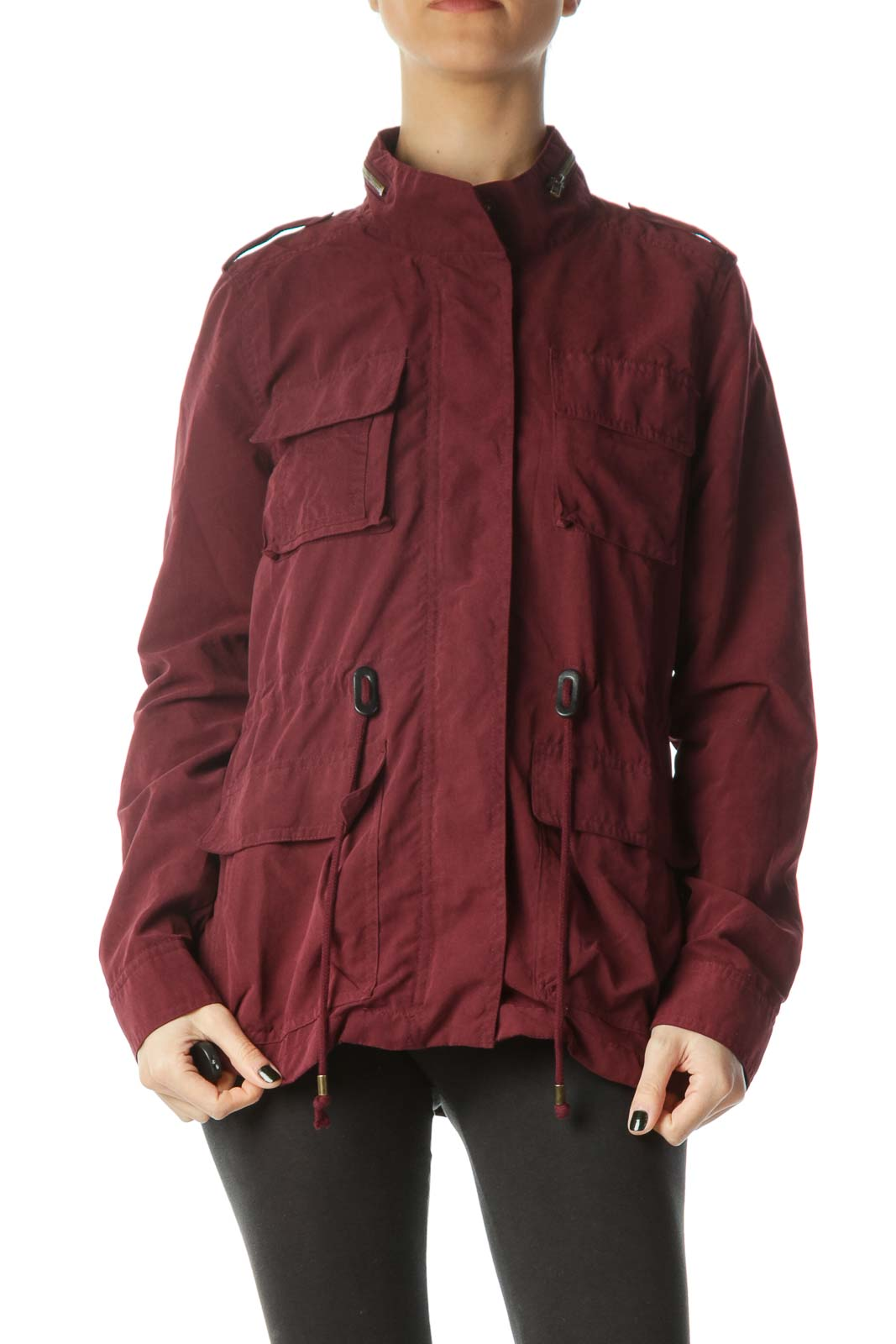 Burgundy Pocketed Zippered Light Jacket