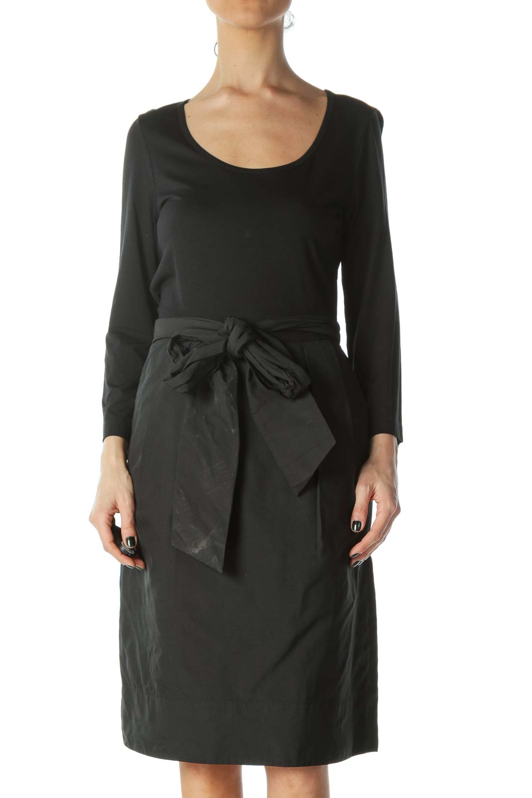 Black Fabric-Blocked Pocket Dress