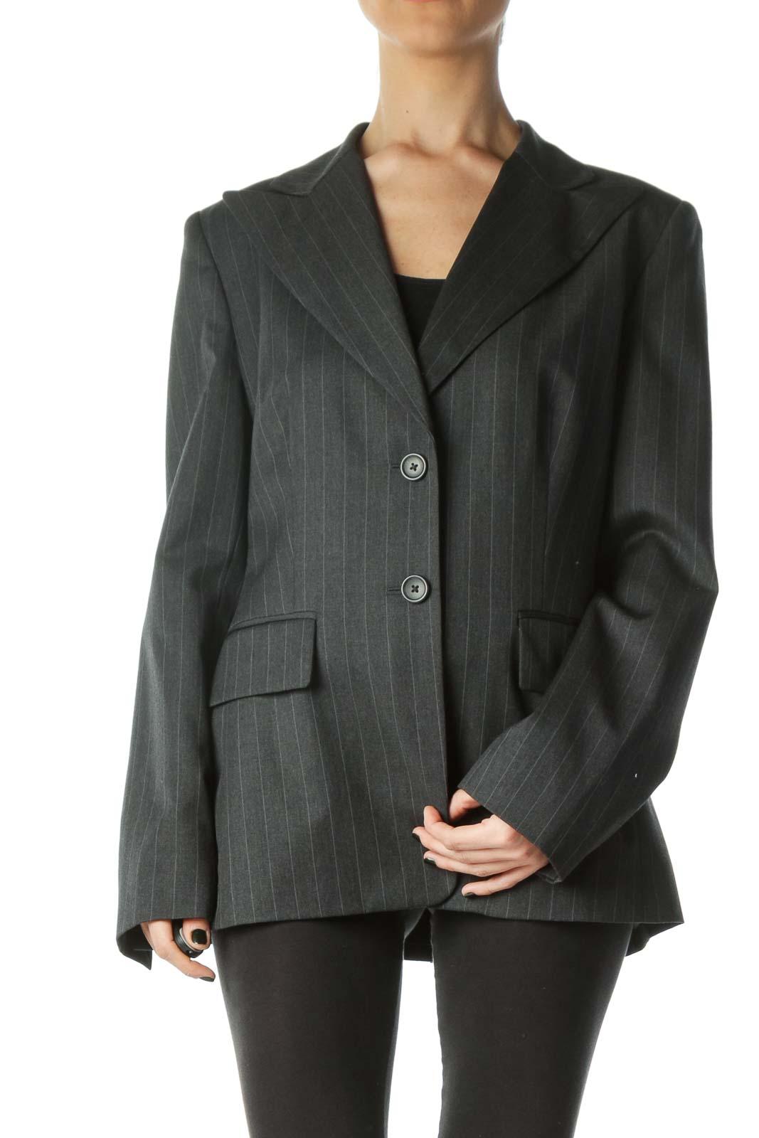 Gray Striped Buttoned Collared Blazer