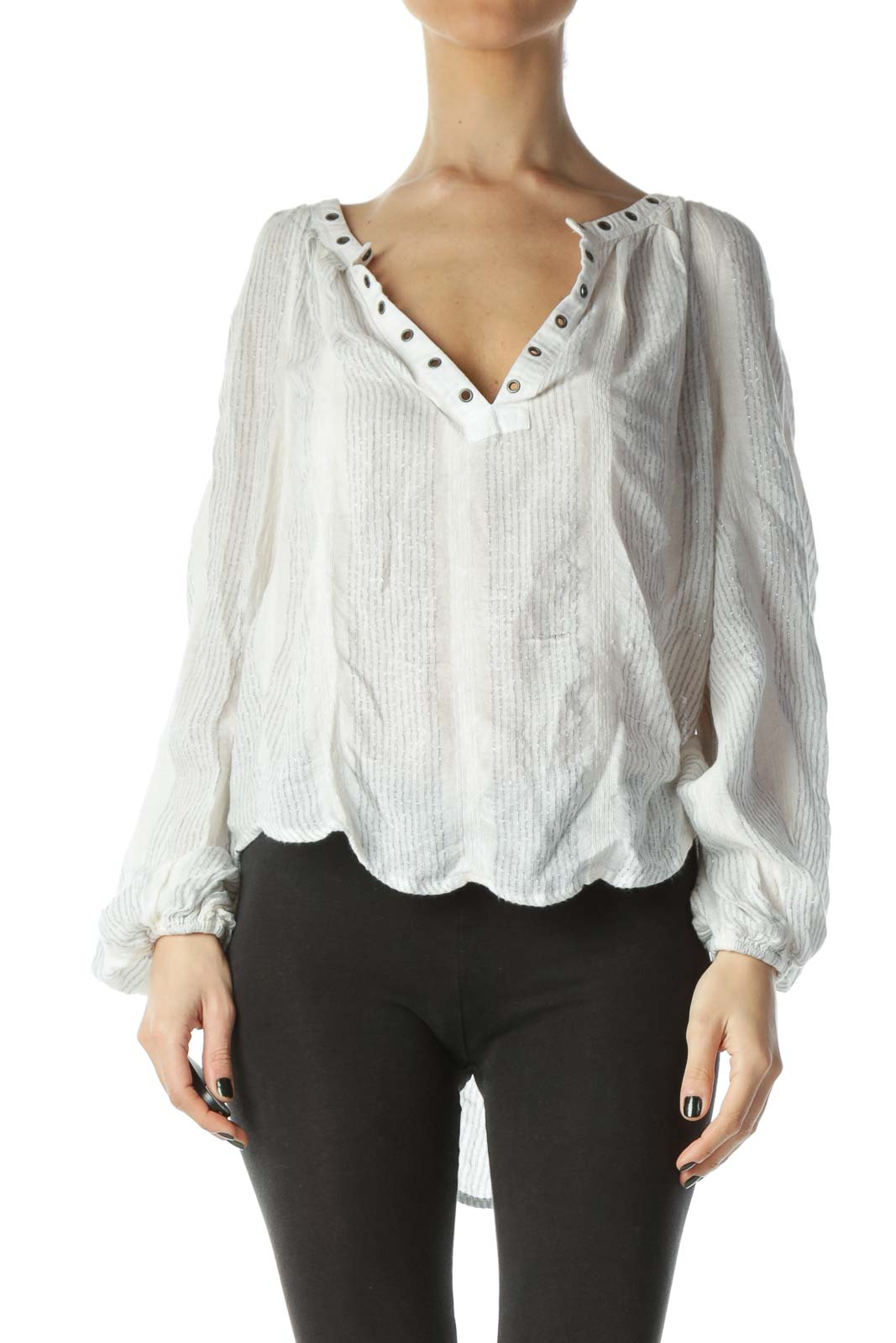White Metallic Stripe Blouse
