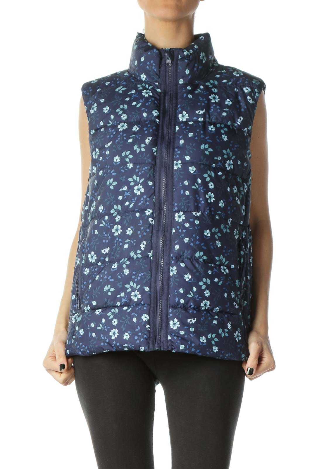 Blue Flower Print Zippered Puffy Vest