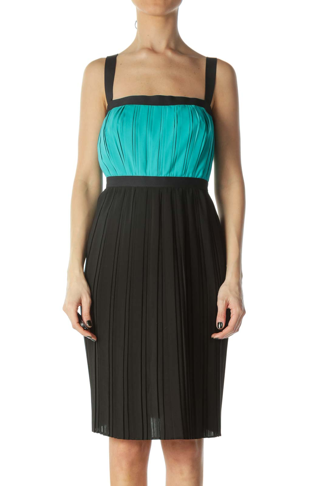 Teal and Black Color Block Dress
