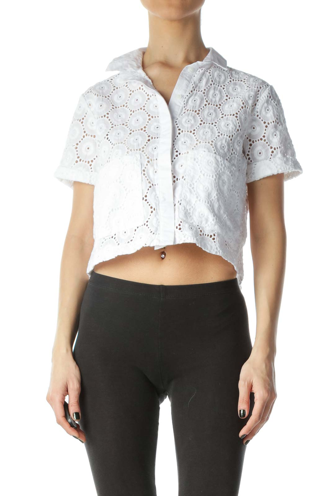 White Embroidered Pocket Cropped Blouse