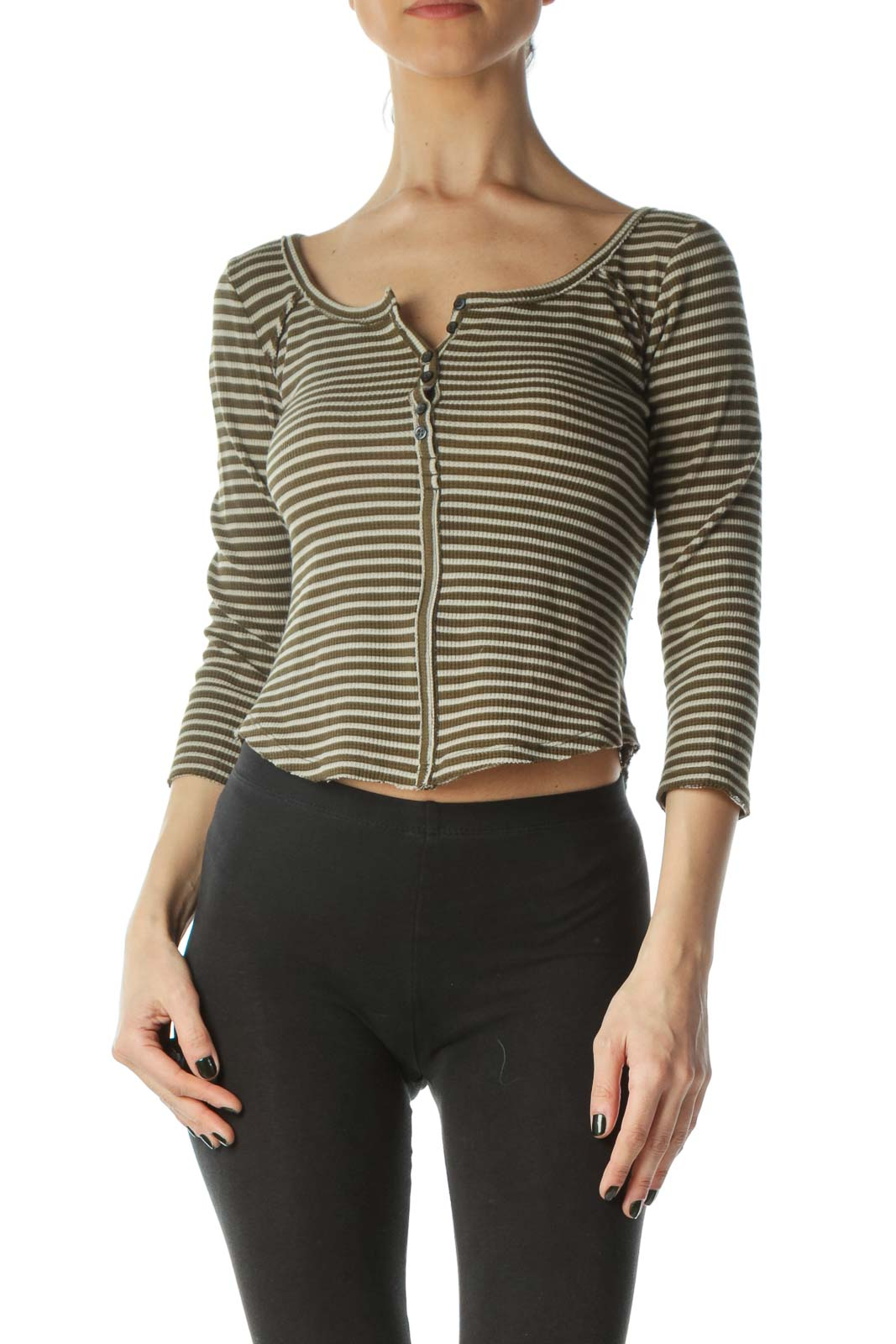 Green Striped Cropped 3/4 Sleeve Knit Top