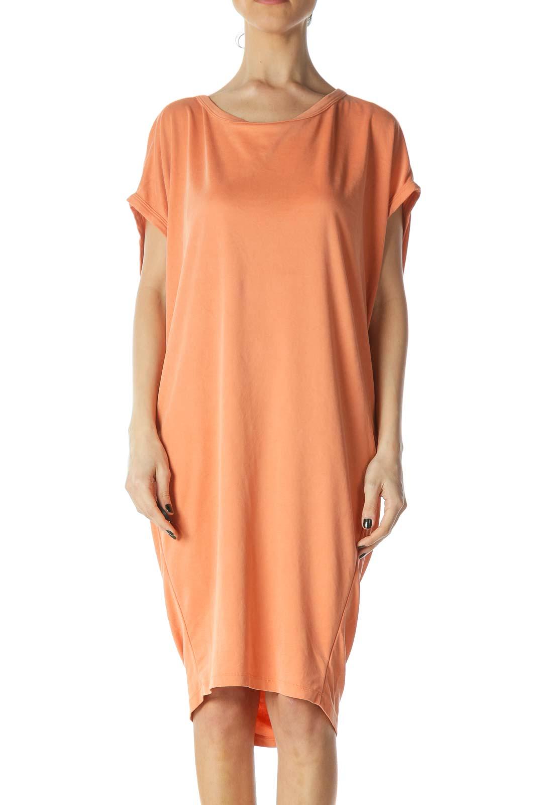Orange Oversized Open Back Jersey Dress