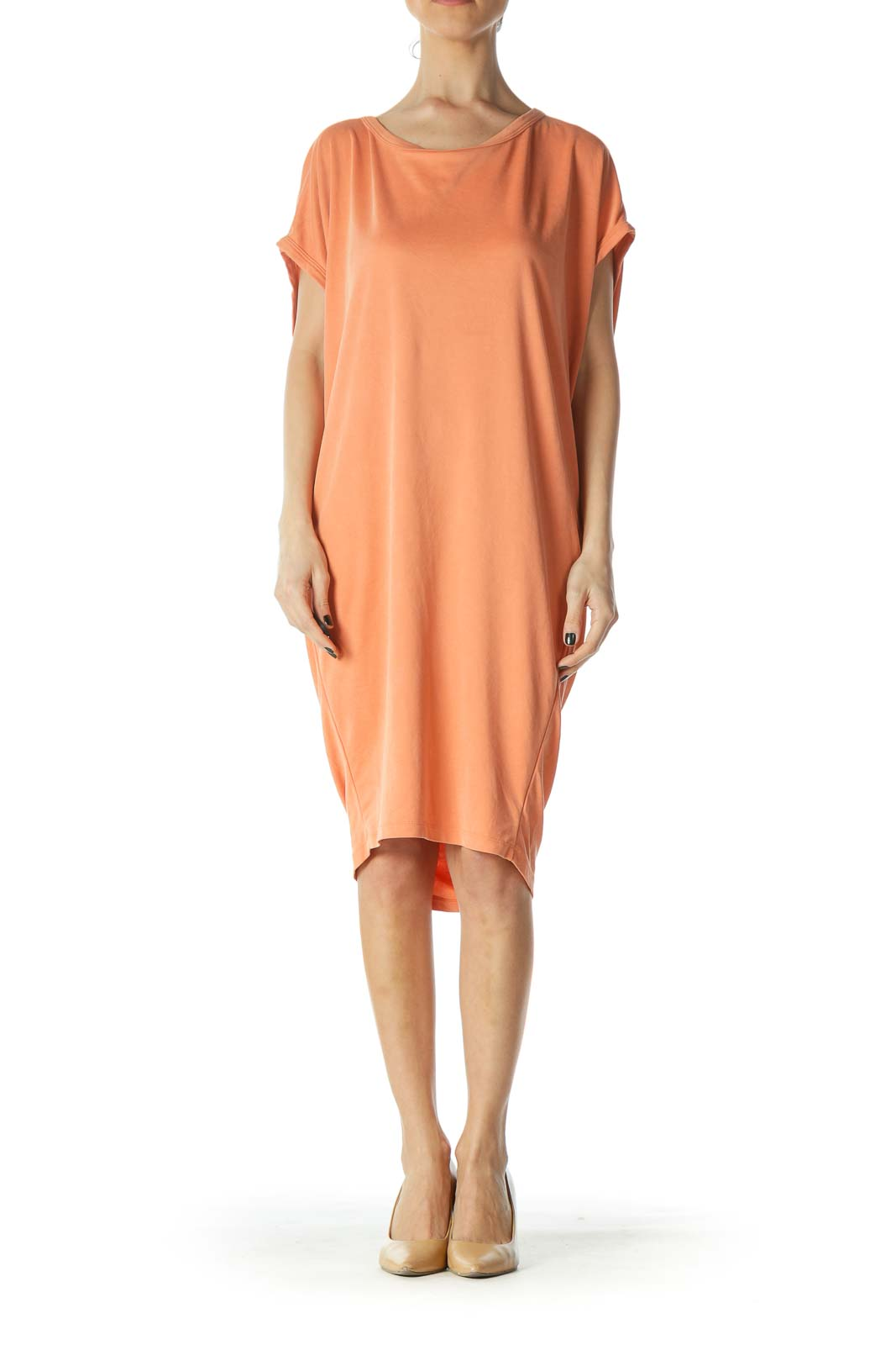 Orange Oversized Open Back Jersey Dress