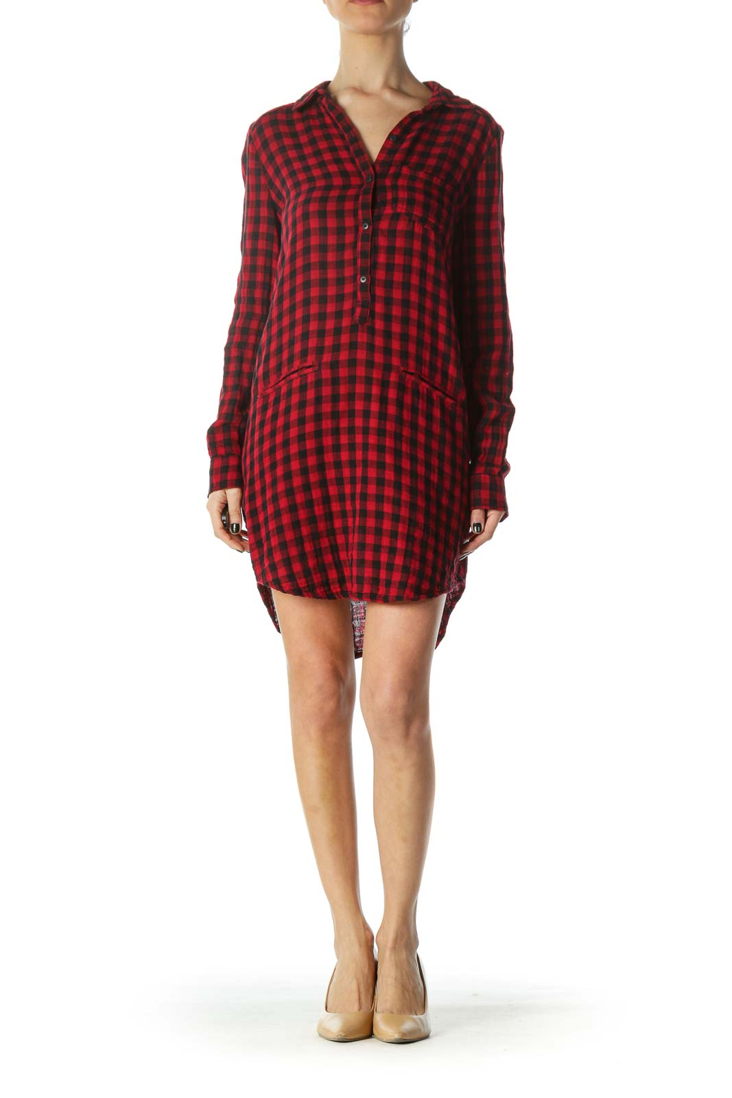 Red Plaid Pocketed Shirt Dress
