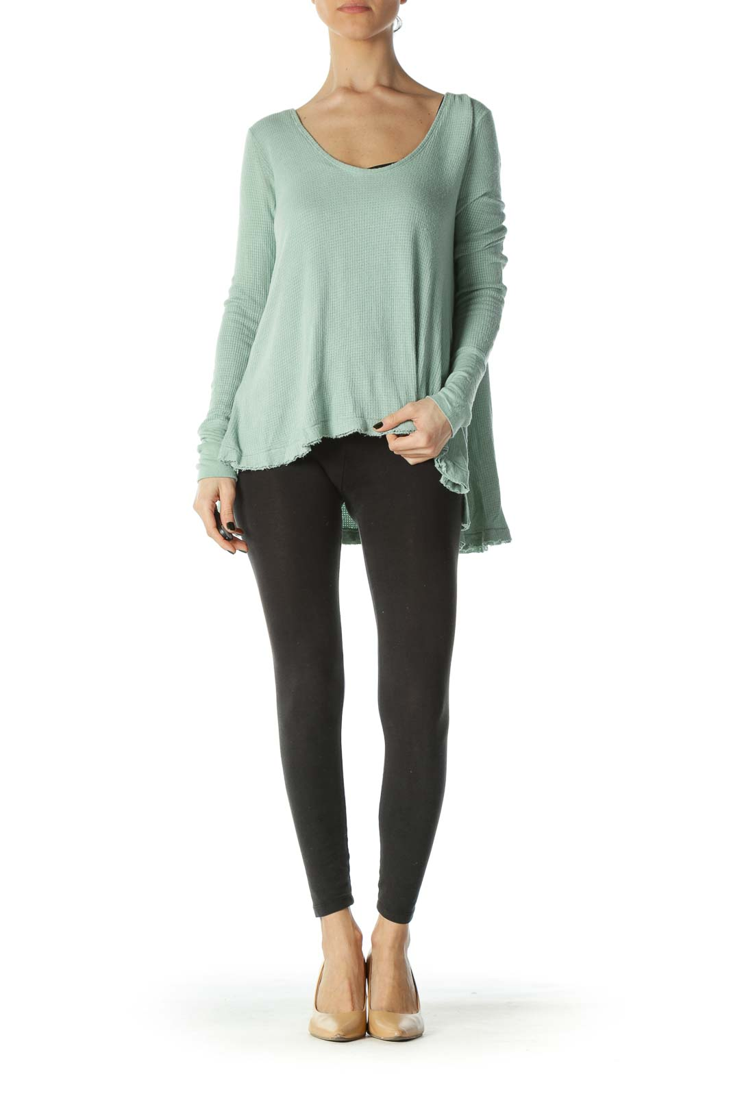 Green Round Neck Long Sleeve Distressed Knit Top