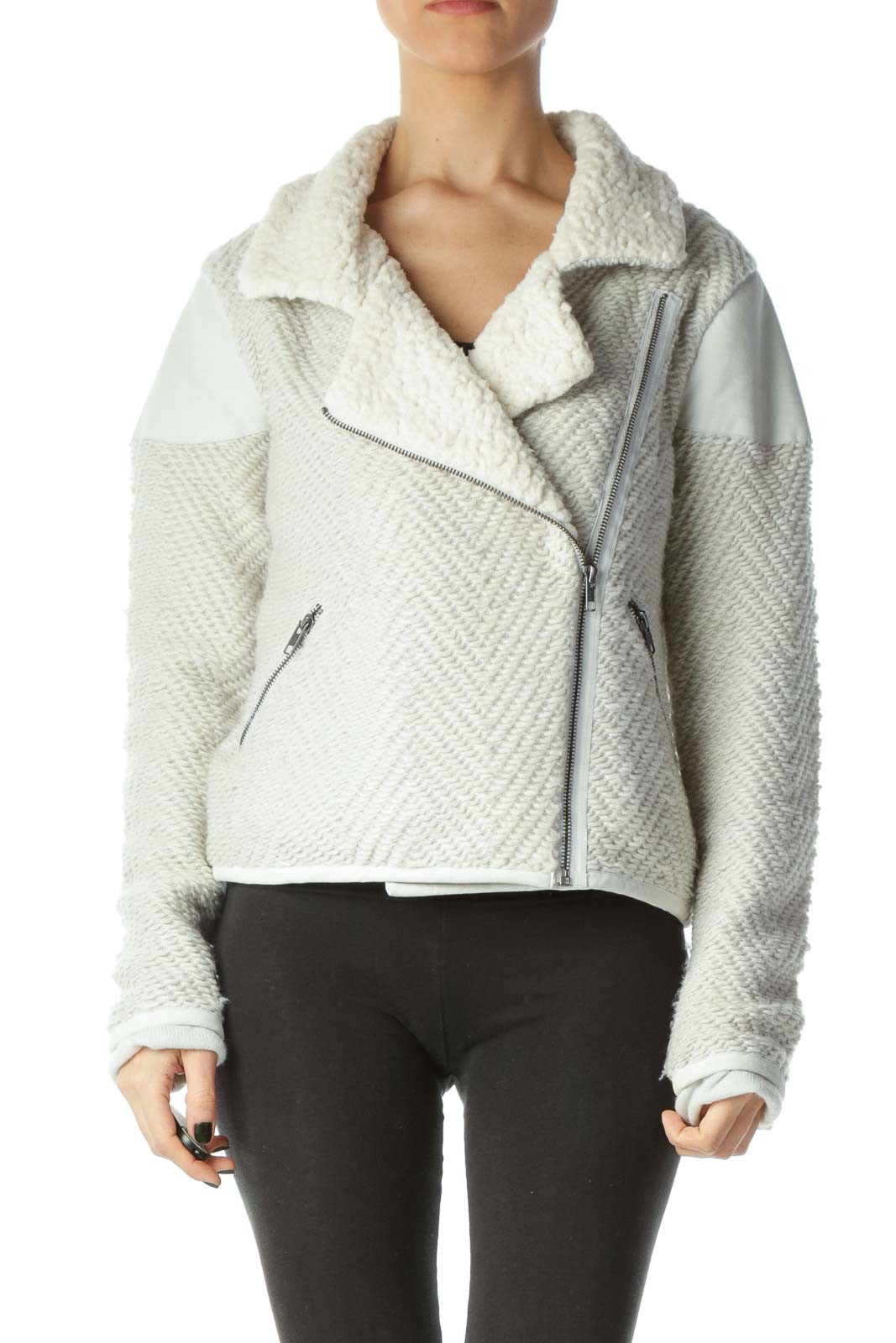 Gray Cream Faux-Fur Textured Jacket