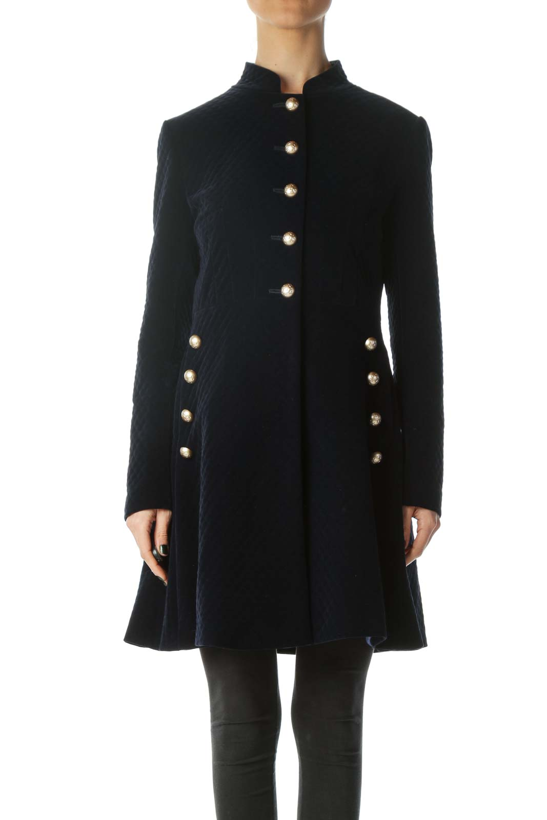 Blue Metallic Buttons Padded Long Jacket