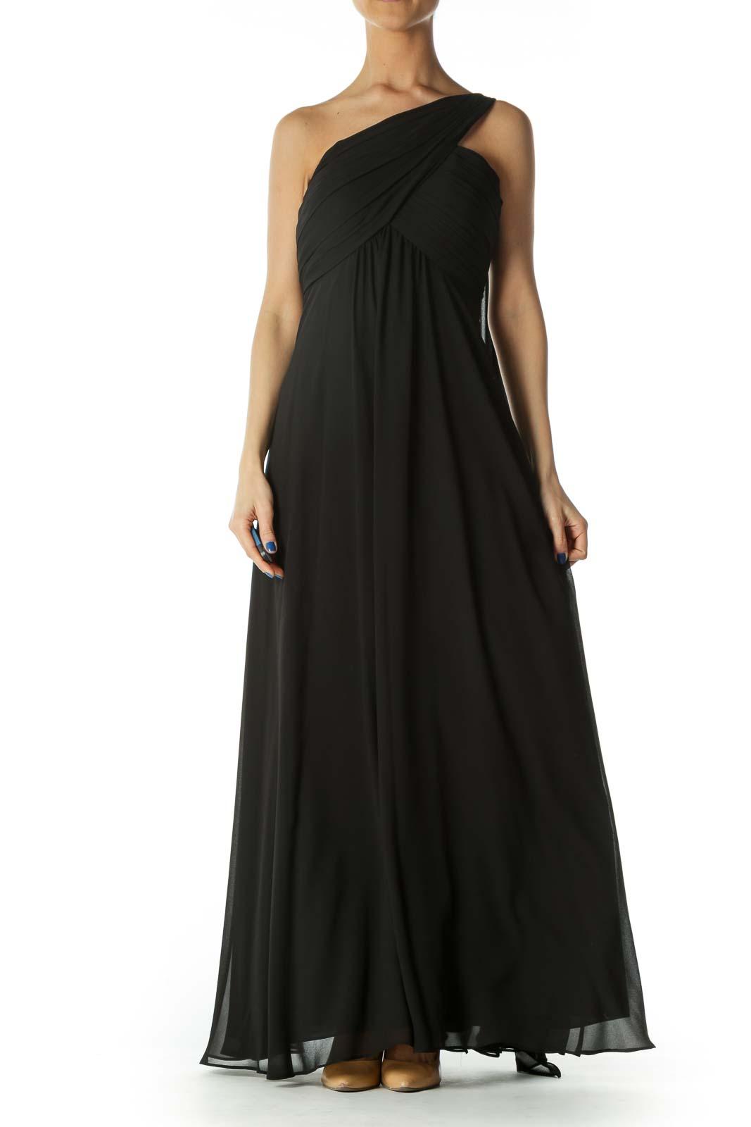 Black One Shoulder Evening Gown
