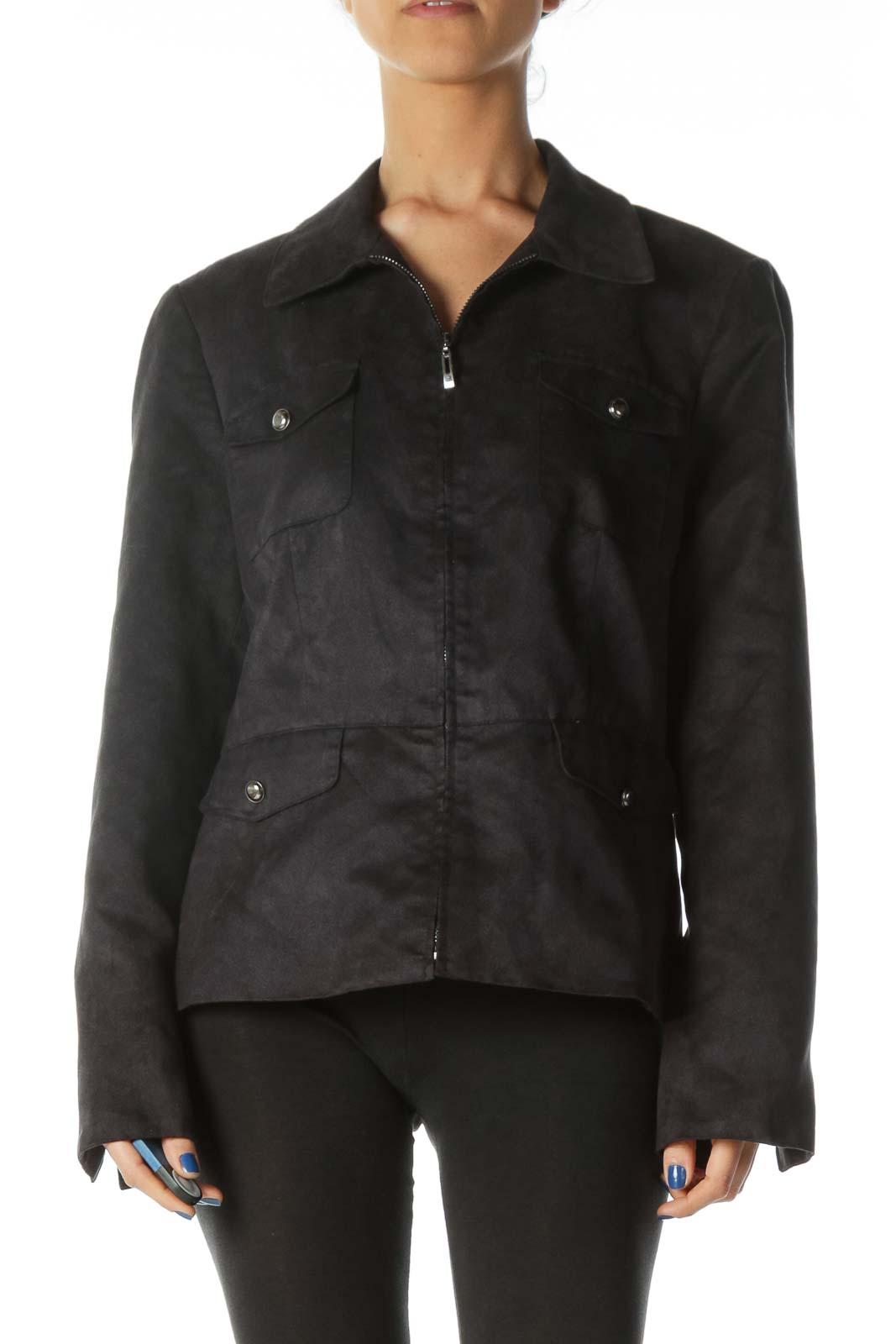 Black Pocketed Bomber Jacket