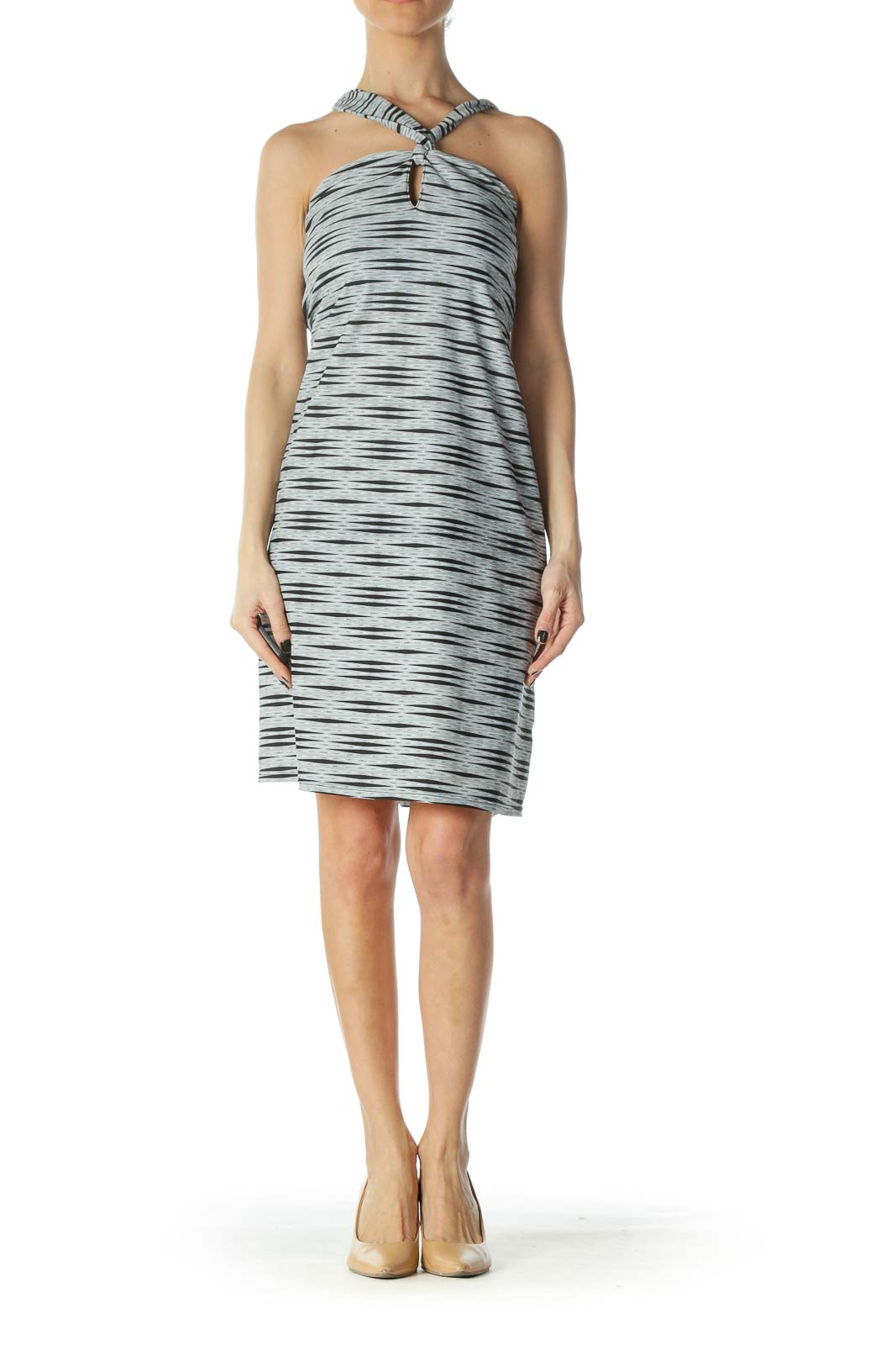 Grey Spandex Criss-Cross Keyhole Dress