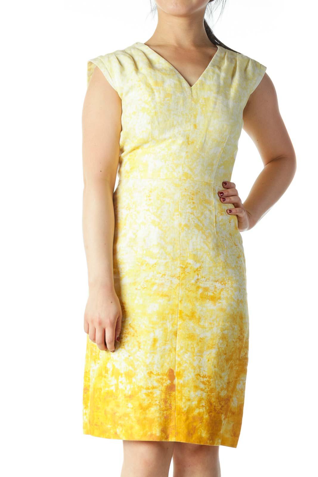 Yellow and Cream Tie Dye V- Neck Dress