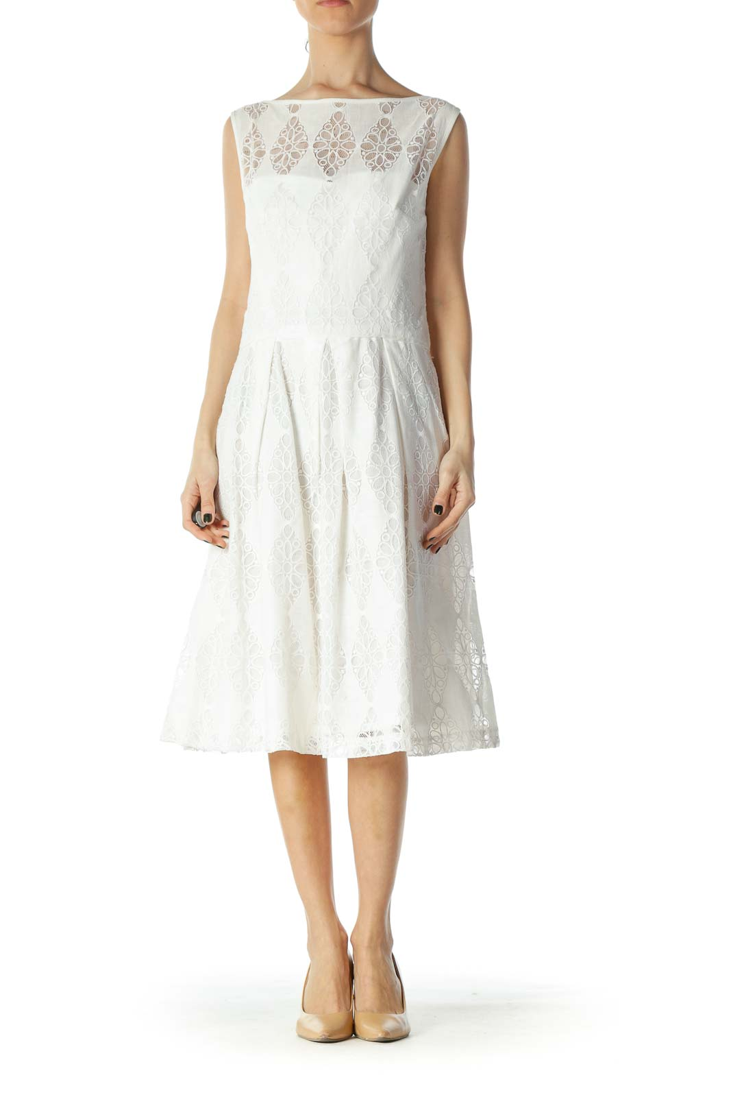 White Lace Natural Waist Day Dress