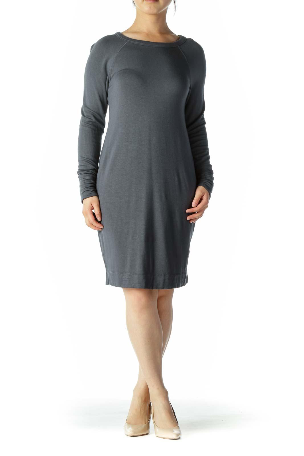 Grey Long Sleeve Shirt Dress