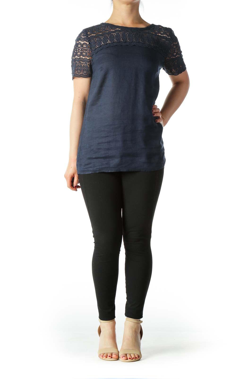 Navy Blue Linen and Cotton Round Neck Blouse